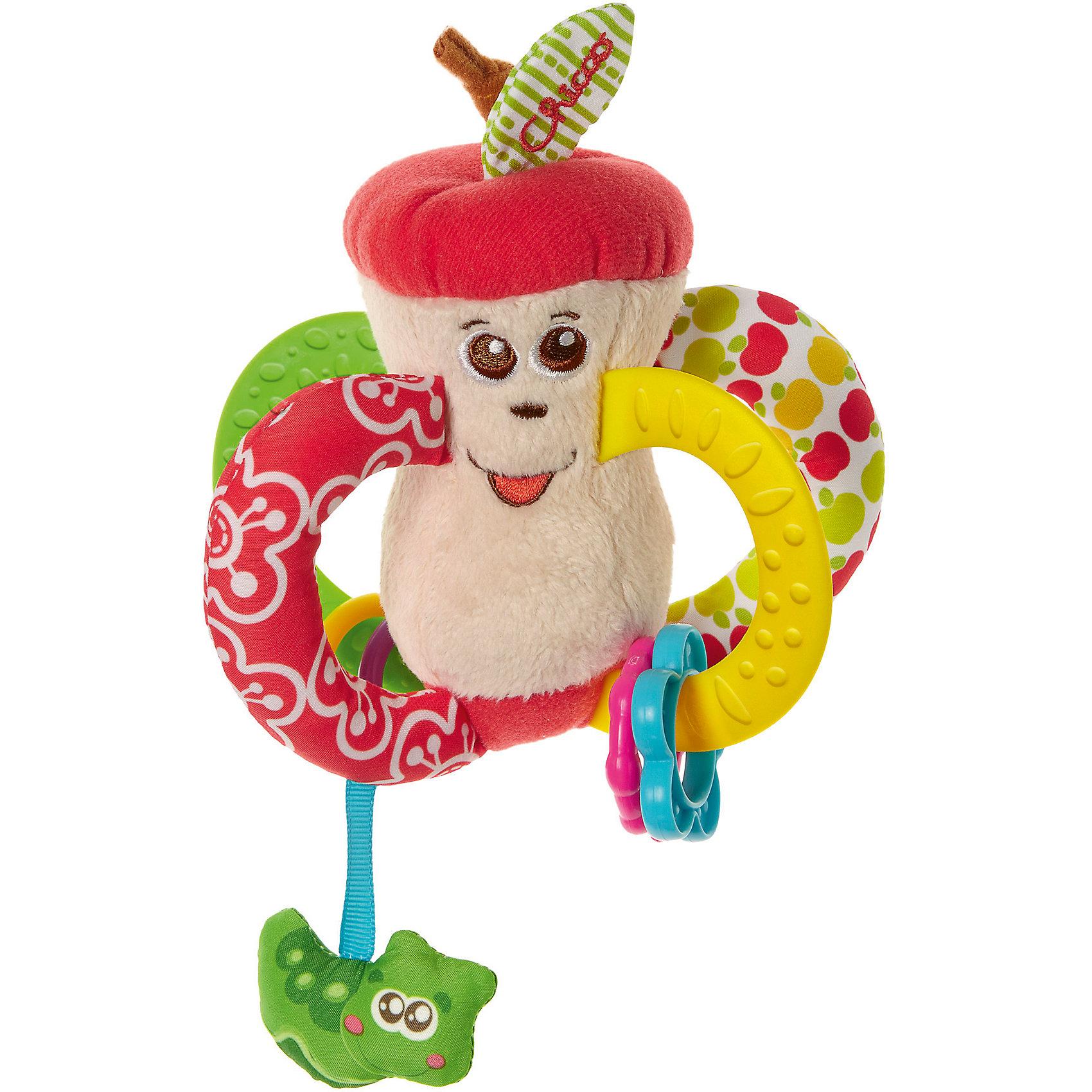 Погремушка Вкусное яблочко, CHICCOПогремушки<br>Погремушка Вкусное яблочко, CHICCO (ЧИКО) – это мягкая развивающая игрушка для малыша.<br>Разноцветная погремушка Вкусное яблочко от Chicco (Чико) идеально подходит для развития малышей с самого раннего возраста. Игрушка прекрасно развивают тактильные ощущения, осязание и мелкую моторику малыша. Четыре ручки-колечка удобны для захвата маленькой детской ручкой. Две ручки-колечка сшиты из тканей разной плотности и фактур. Две другие выполнены из ультрамягкого пластика с выпуклыми узорами, и могут быть использованы малышом в качестве прорезывателей. На ручки-прорезыватели нанизаны пластиковые колечки различных форм и цветов, передвигая которые малыш развивает координацию движений. А при встряхивании игрушки, колечки издают забавный звук погремушки. Снизу к яблочку присоединена небольшая забавная гусеница на ленте, наблюдая за которой и пытаясь схватить ее, малыш развивает зрительные навыки и хватательные рефлексы. Сверху у яблочка забавный листочек, который издает шуршащие звуки, тем самым развивая у малыша слуховые навыки.<br><br>Дополнительная информация:<br><br>- Материал: пластик, велюр, яркая ткань с принтом<br>- Размер упаковки: 189х143х70 мм.<br>- Вес: 95 гр.<br><br>Погремушку Вкусное яблочко, CHICCO (ЧИКО) можно купить в нашем интернет-магазине.<br><br>Ширина мм: 189<br>Глубина мм: 143<br>Высота мм: 70<br>Вес г: 95<br>Возраст от месяцев: 3<br>Возраст до месяцев: 24<br>Пол: Унисекс<br>Возраст: Детский<br>SKU: 4577226