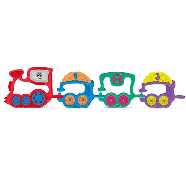 Погремушка Поезд, CHICCOИгрушки для новорожденных<br>Погремушка Поезд, CHICCO (ЧИКО) – это яркая развивающая игрушка для вашего малыша.<br>Разноцветная погремушка Поезд, от Chicco (Чико) идеально подходит для развития малышей. Она состоит из локомотива и трех вагончиков. Вагоны пронумерованы. Соединяя локомотив и 3 вагона, ребенок создаст забавный поезд и научится считать до 3. Погремушку удобно хватать и держать. Игрушка легкая по весу, с ней будет легко играть даже самым маленьким. Развивает координацию движения рук и мелкую моторику. Изготовлена из мягкого пластика.<br><br>Дополнительная информация:<br><br>- Материал: пластик<br>- Размер упаковки: 200х240х25 мм.<br>- Вес: 183 гр.<br><br>Погремушку Поезд, CHICCO (ЧИКО) можно купить в нашем интернет-магазине.<br><br>Ширина мм: 200<br>Глубина мм: 240<br>Высота мм: 25<br>Вес г: 183<br>Возраст от месяцев: 3<br>Возраст до месяцев: 24<br>Пол: Унисекс<br>Возраст: Детский<br>SKU: 4577228