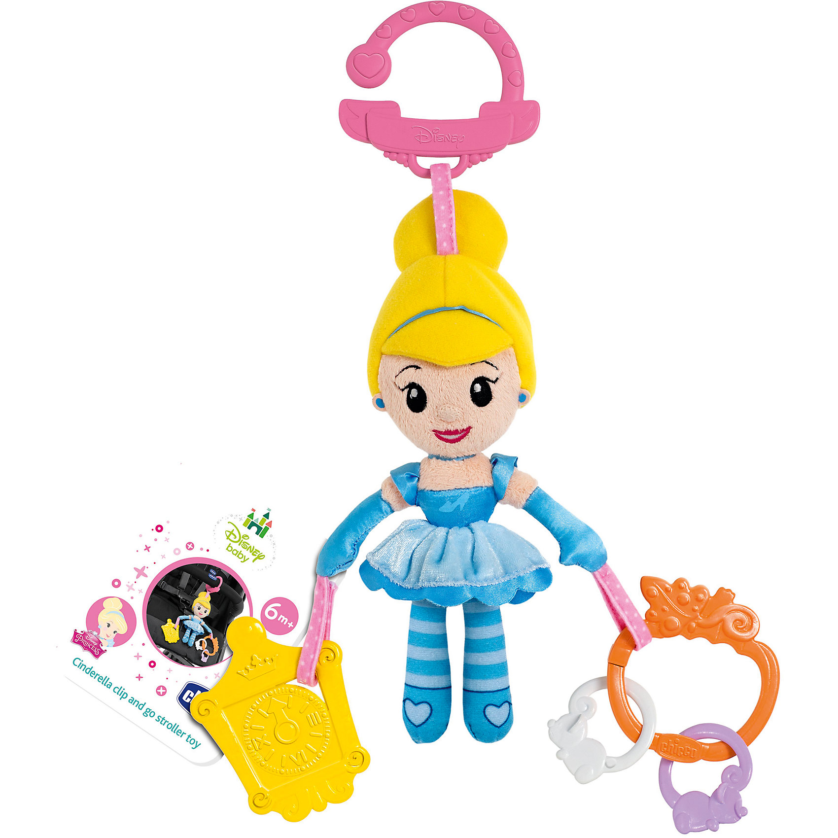 Игрушка для коляски Золушка, Disney, CHICCOПодвески<br>Характеристики игрушки-подвески Disney:<br><br>• наличие карабина для подвешивания в коляску, кроватку или дугу развивающего коврика;<br>• наличие прорезывалеля в виде тыковки;<br>• наличие безопасного зеркальца;<br>• плюшевое тельце Золушки – для развития тактильного восприятия;<br>• рельефная поверхность прорезывателя – массаж десен;<br>• размер игрушки: 19х7х5 см;<br>• размер упаковки: 30х6х6 см;<br>• материал: текстиль, пластик.<br><br>Развивающая игрушка Chicco «Золушка» используется в качестве подвески в коляске или кроватки малышки. Предусмотрено наличие прорезывателя для массажирования десен во время прорезывания зубок, а также, имеется безопасное зеркальце, чтобы юная красавица могла любоваться своим отражением. Карабин надежно удерживает игрушку на перекладине кроватки или бампере коляски. <br><br>Игрушку для коляски Золушка, Disney, CHICCO можно купить в нашем интернет-магазине.<br><br>Ширина мм: 186<br>Глубина мм: 67<br>Высота мм: 257<br>Вес г: 350<br>Возраст от месяцев: 6<br>Возраст до месяцев: 36<br>Пол: Унисекс<br>Возраст: Детский<br>SKU: 4577232