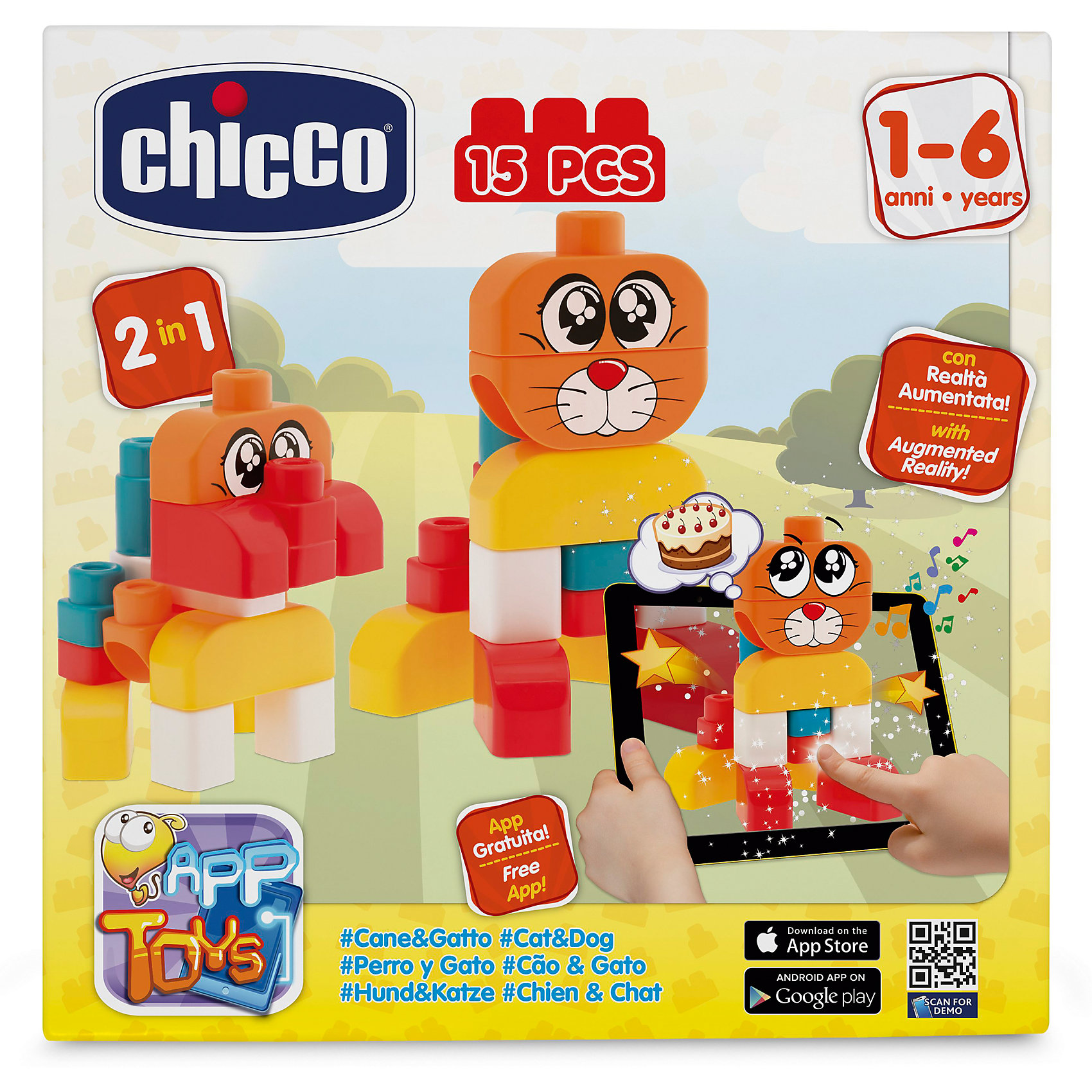 CHICCO Набор строительных блоков Кошка и собака, 15шт, CHICCO chicco chicco чико