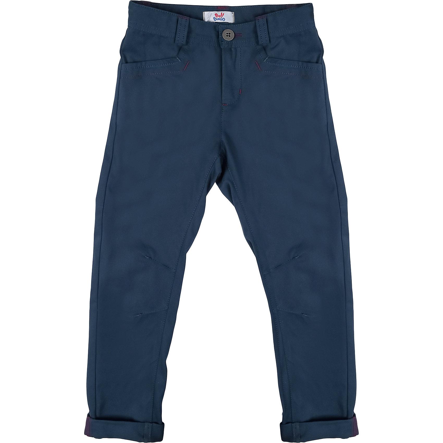 Брюки для мальчика Bell BimboБрюки<br>Брюки для мальчика от марки Bell Bimbo.<br>Однотонные брюки дополнены двумя боковыми карманами спереди, двумя накладными карманами сзади, застежка молния+пуговица,  шлёвки для ремня, манжеты<br>Состав:<br>Твил 100% хб<br><br>Ширина мм: 215<br>Глубина мм: 88<br>Высота мм: 191<br>Вес г: 336<br>Цвет: синий<br>Возраст от месяцев: 120<br>Возраст до месяцев: 132<br>Пол: Мужской<br>Возраст: Детский<br>Размер: 152,158,164,146,134,140,128<br>SKU: 4578561