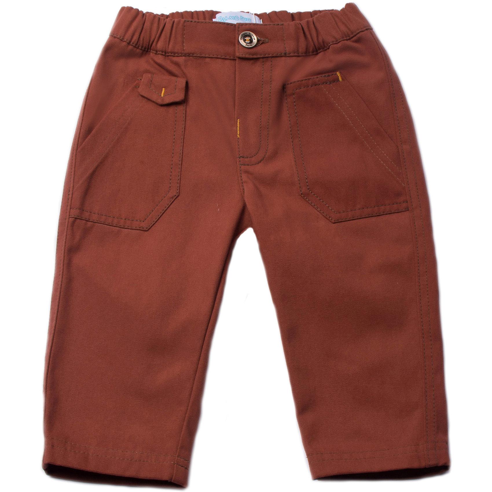 Брюки для мальчика БимошаБрюки<br>Брюки для мальчика от марки Бимоша.<br>Однотонные  брюки на резинке дополнены двумя  карманами спереди, застежка молния+пуговица<br>Состав:<br>твил 100%хлопок<br><br>Ширина мм: 215<br>Глубина мм: 88<br>Высота мм: 191<br>Вес г: 336<br>Цвет: коричневый<br>Возраст от месяцев: 6<br>Возраст до месяцев: 9<br>Пол: Мужской<br>Возраст: Детский<br>Размер: 74,80,92,86<br>SKU: 4578577
