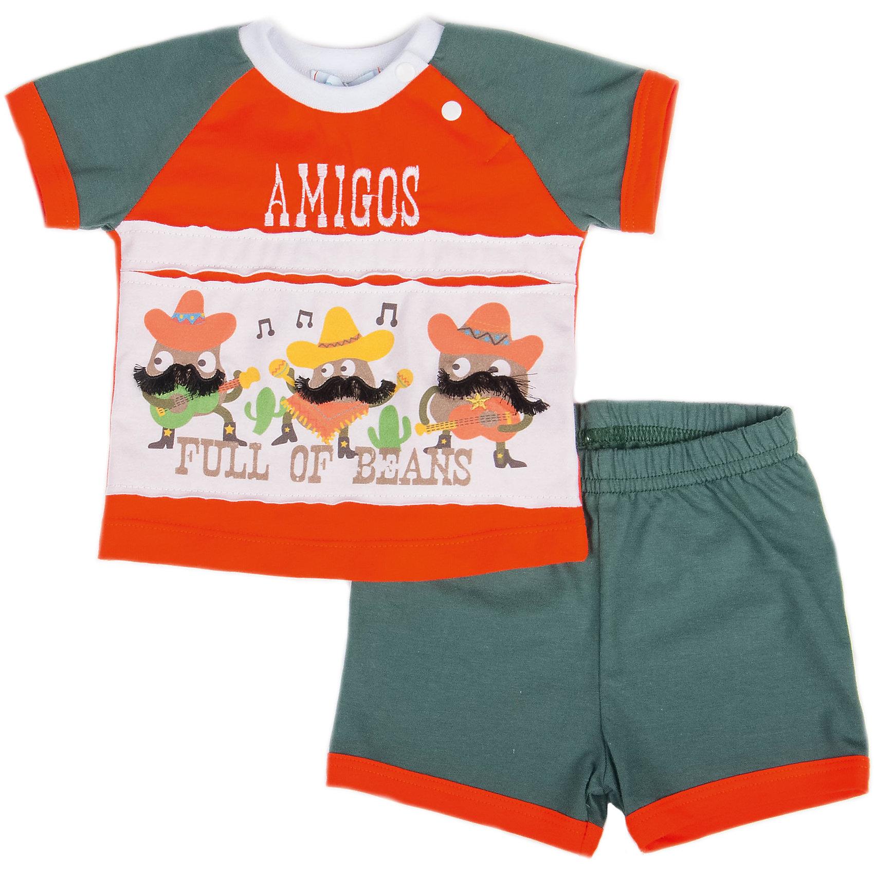 Комплект: футболка и шорты для мальчика БимошаКомплект: футболка и шорты для мальчика от марки Бимоша.<br>Джемпер украшен оригинальной печатью.  Шорты  однотонные на резинке<br>Состав:<br> кулирная гладь 100%хлопок<br><br>Ширина мм: 199<br>Глубина мм: 10<br>Высота мм: 161<br>Вес г: 151<br>Цвет: оранжевый<br>Возраст от месяцев: 3<br>Возраст до месяцев: 6<br>Пол: Мужской<br>Возраст: Детский<br>Размер: 68,62,74,80,86,92<br>SKU: 4578661