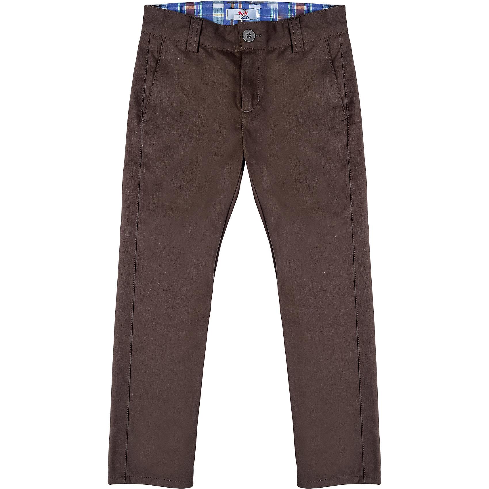 Брюки для мальчика Bell BimboБрюки для мальчика от марки Bell Bimbo.<br>Однотонные брюки дополнены двумя  карманами спереди, двумя  карманами сзади, застежка молния+пуговица,  шлёвки для ремня.<br>Состав:<br>твил 100% хлопок<br><br>Ширина мм: 215<br>Глубина мм: 88<br>Высота мм: 191<br>Вес г: 336<br>Цвет: коричневый<br>Возраст от месяцев: 72<br>Возраст до месяцев: 84<br>Пол: Мужской<br>Возраст: Детский<br>Размер: 122,116,110,104,98<br>SKU: 4578894