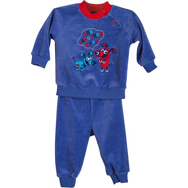 Комплект: толстовка и брюки для мальчика БимошаКомплекты<br>Комплект: толстовка и брюки для мальчика от марки Бимоша.<br>Комплект  на манжетах, застегивается на кнопки дополнен  вышивкой,брюки на широкой резинке и манжеты внизу.<br>Состав:<br>велюр 80% хлопок, 20% ПЭ.<br><br>Ширина мм: 157<br>Глубина мм: 13<br>Высота мм: 119<br>Вес г: 200<br>Цвет: синий<br>Возраст от месяцев: 1<br>Возраст до месяцев: 3<br>Пол: Мужской<br>Возраст: Детский<br>Размер: 62,86,74,68,80<br>SKU: 4579434