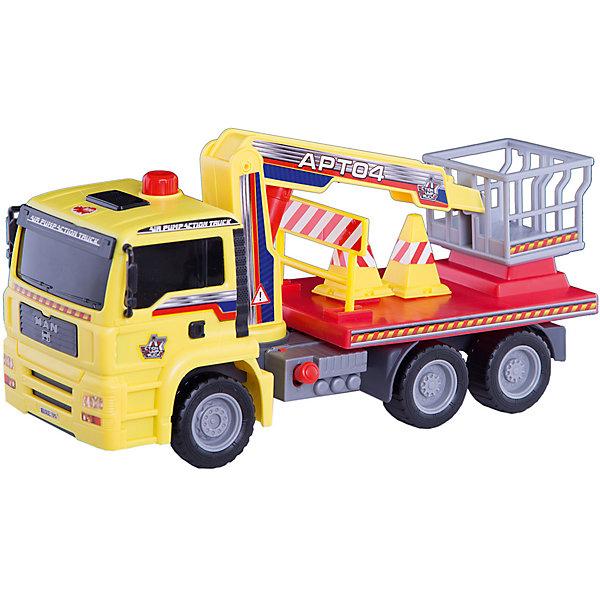 Грузовик с подъемным механизмом, 29см, DickieМашинки<br>Яркий грузовик займет достойное место в коллекции автомобилей любого мальчишки! Машина прекрасно детализирована, имеет множество реалистичных деталей, очень похожа на настоящий грузовик. Грузовик имеет подвижные колеса с широкими рельефными протекторами, оборудован специальным подъемником с площадкой для работника. Подъемник приводится в движение пневматическим механизмом AirPump за счет рычага на корпусе игрушки. Игрушка выполнена из прочных экологичных материалов, в производстве которых использованы нетоксичные, безопасные красители. <br><br>Дополнительная информация:<br><br>- Материал: пластик, металл.<br>- Размер: 29 см.<br>- Подвижные колеса.<br>- Подъемник с площадкой для работника.<br>- Комплектация: машинка, дорожные знаки.<br><br>Грузовик с подъемным механизмом, 29см, Dickie (Дикки), можно купить в нашем магазине.<br>Ширина мм: 350; Глубина мм: 130; Высота мм: 200; Вес г: 680; Возраст от месяцев: 36; Возраст до месяцев: 84; Пол: Мужской; Возраст: Детский; SKU: 4582749;