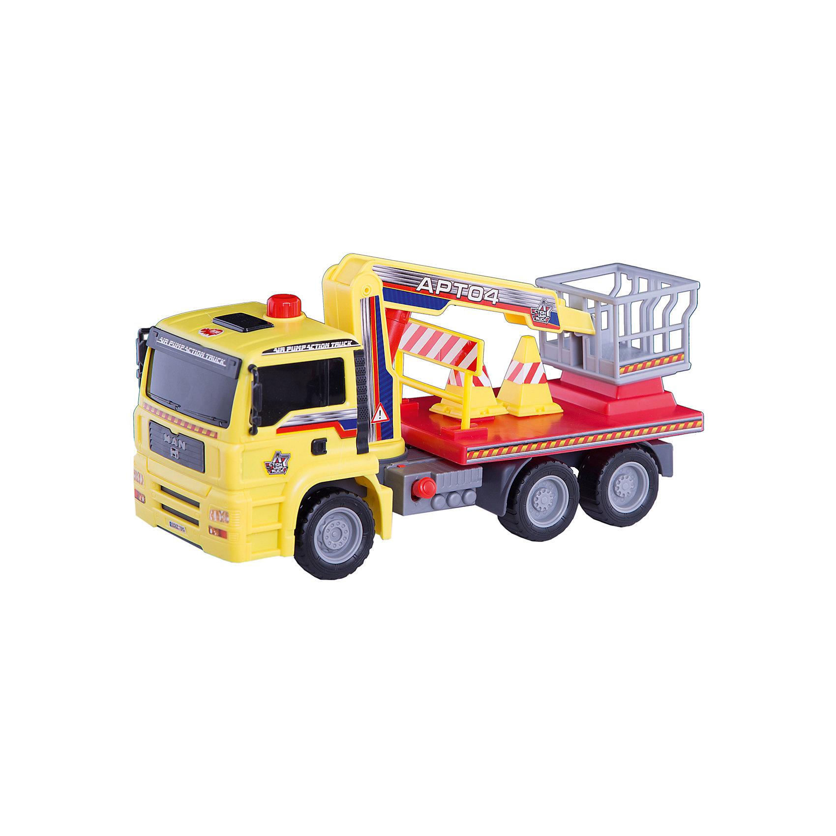 Грузовик с подъемным механизмом, 29см, DickieМашинки<br>Яркий грузовик займет достойное место в коллекции автомобилей любого мальчишки! Машина прекрасно детализирована, имеет множество реалистичных деталей, очень похожа на настоящий грузовик. Грузовик имеет подвижные колеса с широкими рельефными протекторами, оборудован специальным подъемником с площадкой для работника. Подъемник приводится в движение пневматическим механизмом AirPump за счет рычага на корпусе игрушки. Игрушка выполнена из прочных экологичных материалов, в производстве которых использованы нетоксичные, безопасные красители. <br><br>Дополнительная информация:<br><br>- Материал: пластик, металл.<br>- Размер: 29 см.<br>- Подвижные колеса.<br>- Подъемник с площадкой для работника.<br>- Комплектация: машинка, дорожные знаки.<br><br>Грузовик с подъемным механизмом, 29см, Dickie (Дикки), можно купить в нашем магазине.<br><br>Ширина мм: 350<br>Глубина мм: 130<br>Высота мм: 200<br>Вес г: 680<br>Возраст от месяцев: 36<br>Возраст до месяцев: 84<br>Пол: Мужской<br>Возраст: Детский<br>SKU: 4582749