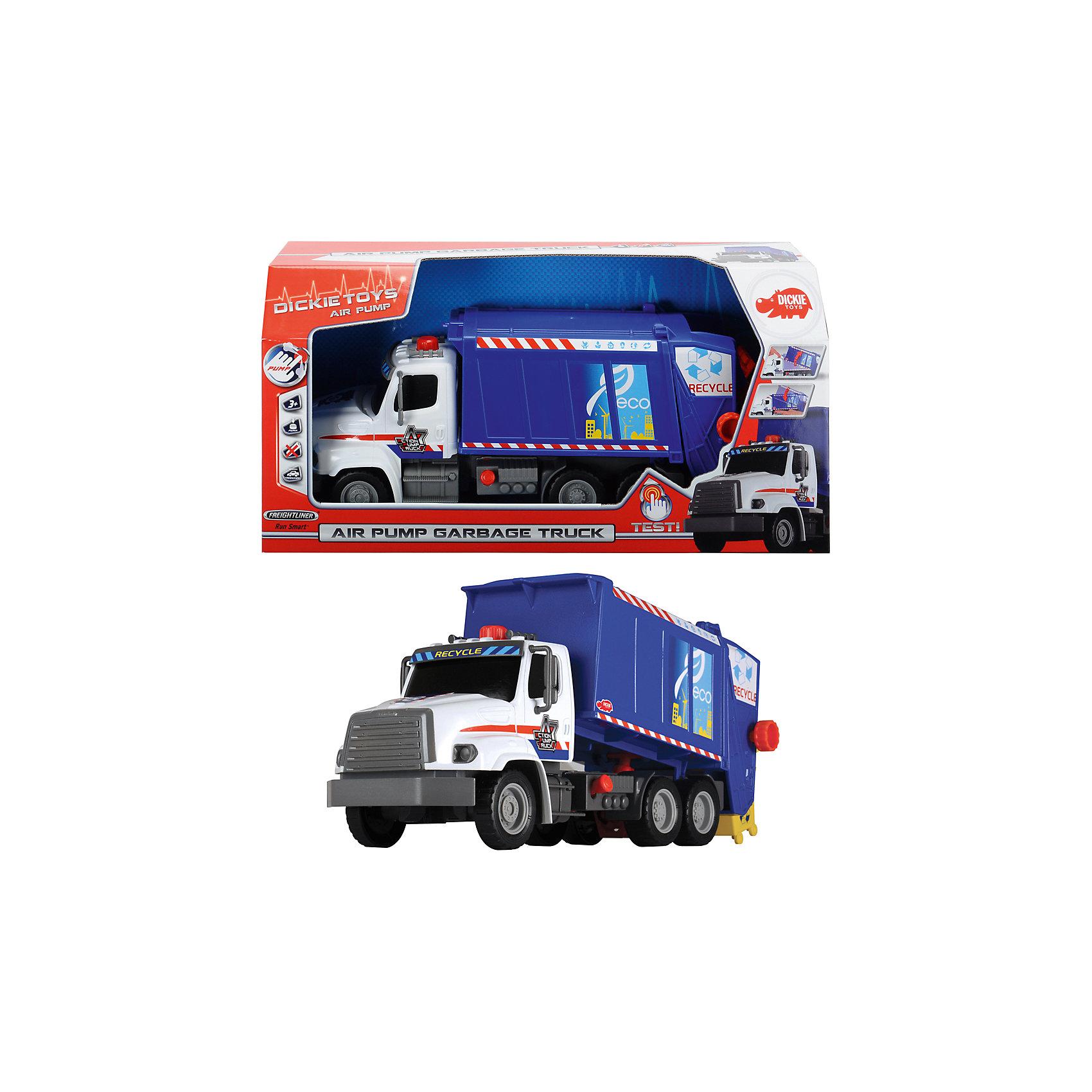 Мусоровоз, 32 см, DickieМашинки<br>Грузовик- мусоровоз займет достойное место в коллекции автомобилей любого мальчишки! Машина прекрасно детализирована, имеет множество реалистичных деталей, очень похожа на настоящий грузовик. Грузовик имеет подвижные колеса с широкими рельефными протекторами, оснащен вместительным кузовом с механизмом подъема и опускания. Подъем осуществляется с помощью насоса на крыше кабины, а опустить вышку можно потянув за рычаг, расположенный на кузове. Игрушка выполнена из прочных экологичных материалов, в производстве которых использованы нетоксичные, безопасные красители. <br><br>Дополнительная информация:<br><br>- Материал: пластик, металл.<br>- Размер: 46 см.<br>- Подвижные колеса.<br>- Вместительный подвижный кузов.<br>- Комплектация: машинка, мусорный контейнер.<br><br><br>Мусоровоз, 32 см, Dickie (Дикки), можно купить в нашем магазине.<br><br>Ширина мм: 400<br>Глубина мм: 130<br>Высота мм: 200<br>Вес г: 900<br>Возраст от месяцев: 36<br>Возраст до месяцев: 84<br>Пол: Мужской<br>Возраст: Детский<br>SKU: 4582750