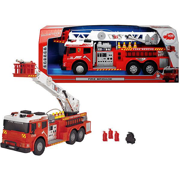 Пожарная машина с водой, 62 см, DickieМашинки<br>В такой замечательной машиной ваш ребенок сможет почувствовать себя настоящим пожарным! Машина с подвижными колесами оснащена звуком  пожарной сирены и мигалками. Наверху располагается подвижная лестница с площадкой и брандспойтом, который имеет функцию разбрызгивания воды. Пожарная машина выполнена из высококачественного пластика, с применением экологичных нетоксичных красителей. <br><br>Дополнительная информация:<br><br>- Материал: пластик, металл.<br>- Размер: 62 см.<br>- Подвижные колеса.<br>- Подвижная пожарная вышка. <br>- Функция разбрызгивания воды.<br>- Световые, звуковые эффекты.<br>- Элемент питания: 2 АА батарейки (в комплекте).<br><br>Пожарную машину с водой, 62 см, Dickie (Дикки), можно купить в нашем магазине.<br>Ширина мм: 690; Глубина мм: 260; Высота мм: 180; Вес г: 1990; Возраст от месяцев: 36; Возраст до месяцев: 84; Пол: Мужской; Возраст: Детский; SKU: 4582753;