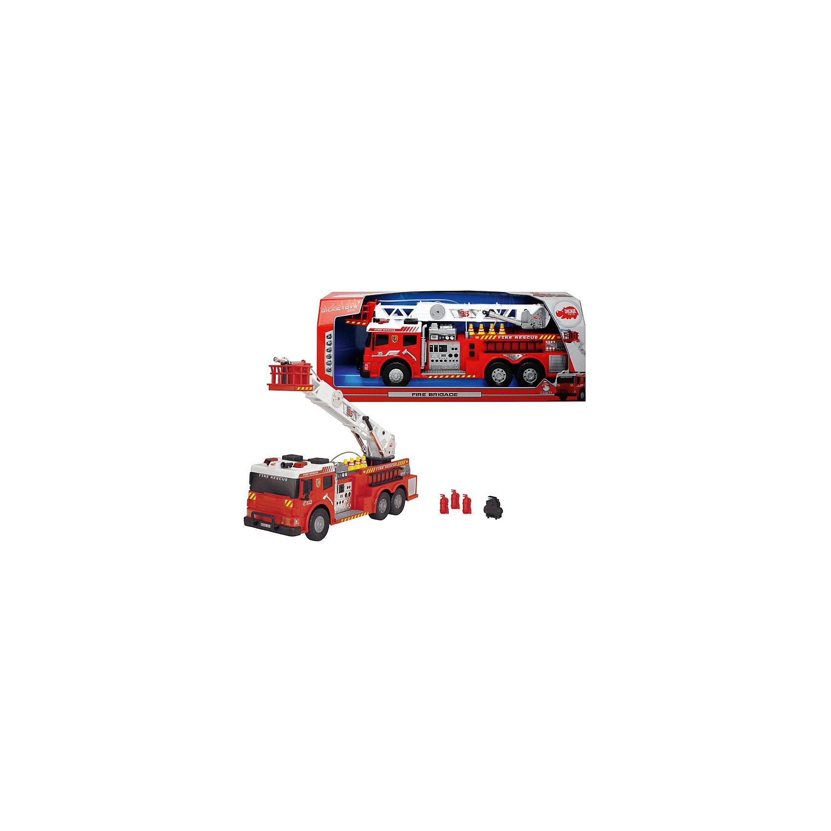 Пожарная машина с водой, 62 см, DickieБольшой транспорт от 50 см<br>В такой замечательной машиной ваш ребенок сможет почувствовать себя настоящим пожарным! Машина с подвижными колесами оснащена звуком  пожарной сирены и мигалками. Наверху располагается подвижная лестница с площадкой и брандспойтом, который имеет функцию разбрызгивания воды. Пожарная машина выполнена из высококачественного пластика, с применением экологичных нетоксичных красителей. <br><br>Дополнительная информация:<br><br>- Материал: пластик, металл.<br>- Размер: 62 см.<br>- Подвижные колеса.<br>- Подвижная пожарная вышка. <br>- Функция разбрызгивания воды.<br>- Световые, звуковые эффекты.<br>- Элемент питания: 2 АА батарейки (в комплекте).<br><br>Пожарную машину с водой, 62 см, Dickie (Дикки), можно купить в нашем магазине.<br><br>Ширина мм: 690<br>Глубина мм: 260<br>Высота мм: 180<br>Вес г: 1990<br>Возраст от месяцев: 36<br>Возраст до месяцев: 84<br>Пол: Мужской<br>Возраст: Детский<br>SKU: 4582753