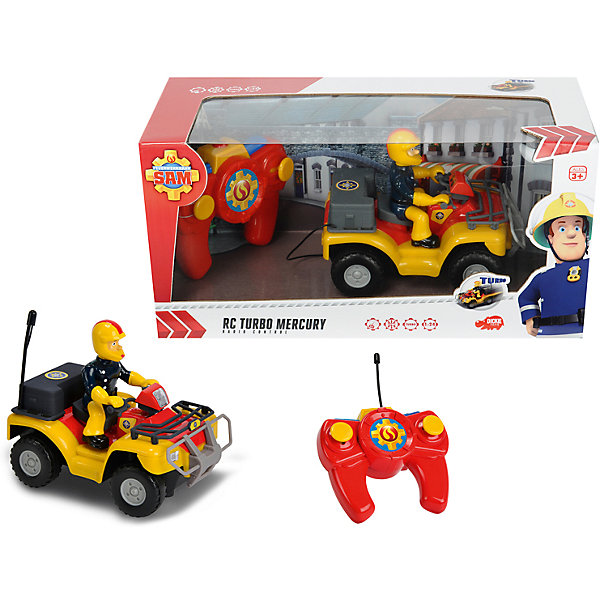 Квадроцикл на р/у, Пожарный Сэм, DickieРадиоуправляемые машины<br>Яркий квадроцикл с отважным пожарным обязательно понравится детям! Квадроцикл выполнен по сюжету популярного мультфильма «Пожарный Сэм», поэтому за рулем расположился главный герой в защитном костюме и в шлеме, дополненным наушником. Квадроцикл на пульте дистанционного управления может передвигаться во все стороны. Игрушка выполнена из прочных экологичных материалов, в производстве которых использованы нетоксичные, безопасные красители. <br><br>Дополнительная информация:<br><br>- Материал: пластик, металл.<br>- Размер: 16 см.<br>- Комплектация: квадроцикл, пульт ДУ, инструкция. <br>- Элемент питания: для квадроцикла - 2 батарейки АА, для пульта: 3 батарейки АAA (не входят в комплект).<br><br>Квадроцикл на р/у, Пожарный Сэм, Dickie (Дикки), можно купить в нашем магазине.<br><br>Ширина мм: 510<br>Глубина мм: 70<br>Высота мм: 360<br>Вес г: 2000<br>Возраст от месяцев: 36<br>Возраст до месяцев: 84<br>Пол: Мужской<br>Возраст: Детский<br>SKU: 4582759