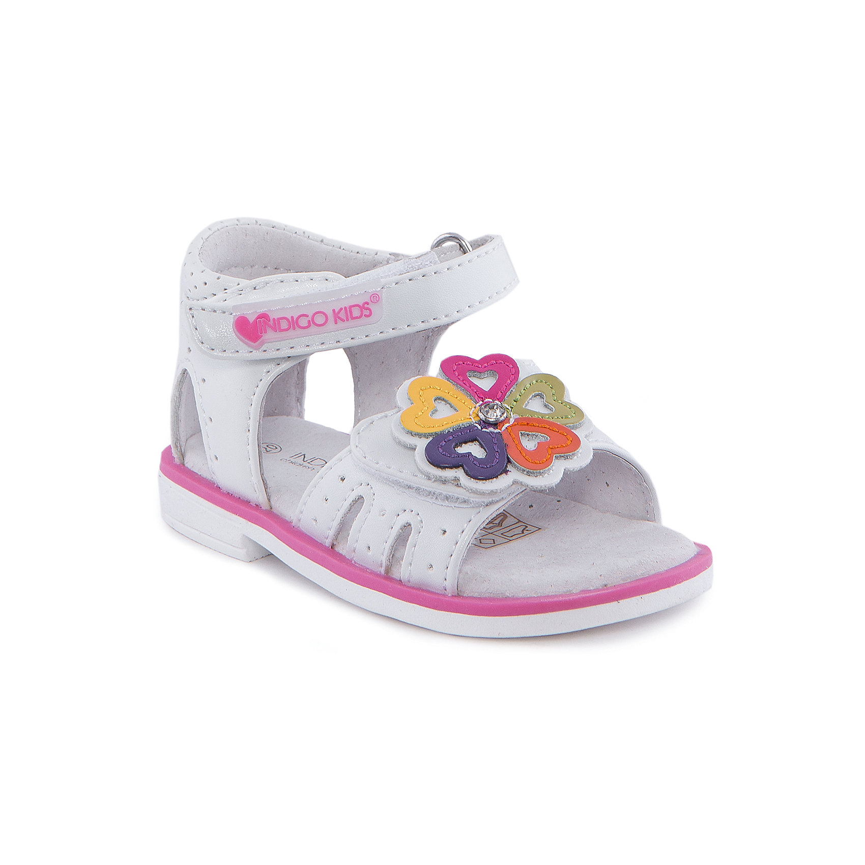 Сандалии для девочки Indigo kidsСандалии для девочки от известного бренда Indigo kids<br><br>Модные сандалии позволяют ножкам ребенка свободно дышать. Они легко надеваются и комфортно садятся по ноге. Оригинальный дизайн и качественное исполнение выделяют такую обувь из общего ряда новых моделей для этого сезона.<br><br>Особенности модели:<br><br>- цвет - белый;<br>- стильный дизайн;<br>- удобная колодка;<br>- кожаная стелька;<br>- украшены стразами и яркими деталями;<br>- устойчивая подошва;<br>- застежки: липучки.<br><br>Дополнительная информация:<br><br>Состав:<br><br>верх – искусственная кожа;<br>подкладка -   натуральная кожа;<br>подошва - ТЭП.<br><br>Сандалии для девочки Indigo kids (Индиго Кидс) можно купить в нашем магазине.<br><br>Ширина мм: 219<br>Глубина мм: 154<br>Высота мм: 121<br>Вес г: 343<br>Цвет: белый<br>Возраст от месяцев: 18<br>Возраст до месяцев: 21<br>Пол: Женский<br>Возраст: Детский<br>Размер: 23,22,24,25,21,20<br>SKU: 4582784