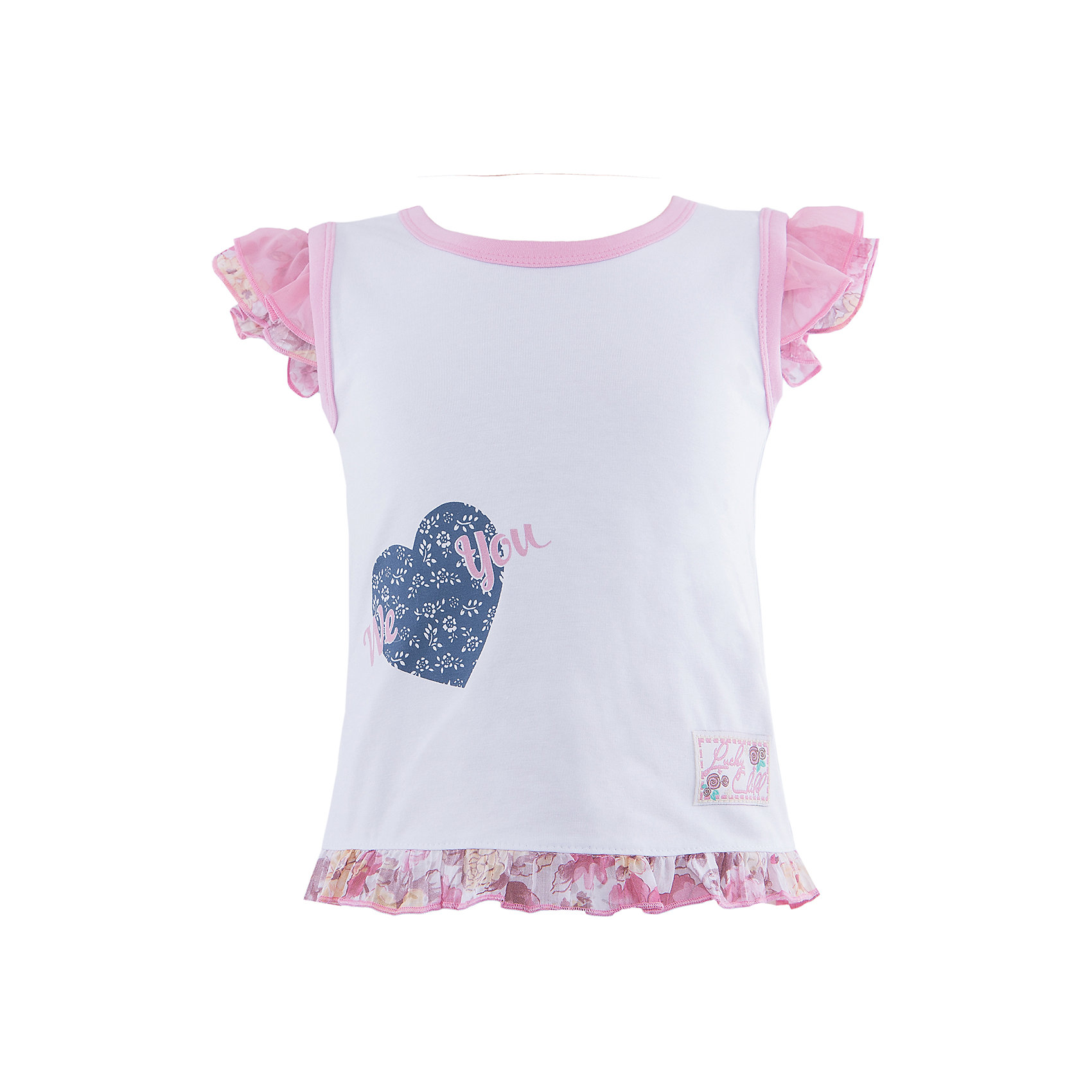 Футболка для девочки Lucky ChildФутболки, топы<br>Футболка для девочки от известной марки Lucky Child<br><br>Модная и удобная футболка создана специально для девочек. Очень нежная и красивая модель. Сшита из натурального хлопкового трикотажа, мягкого и дышащего. Такой материал не вызывает аллергии и позволяет одежде комфортно сидеть на ребенке. Отделана жатым батистом с цветочным принтом.<br><br>Особенности модели:<br><br>- цвет: белый, розовый;<br>- рукава-крылья;<br>- натуральный материал;<br>- аппликация из ткани с сердцем;<br>- декорирована оборкой;<br>- круглый горловой вырез.<br><br>Дополнительная информация:<br><br>Состав: 100% хлопок (интерлок)<br><br>Футболку для девочки от Lucky Child (Лаки Чайлд) можно купить в нашем магазине.<br><br>Ширина мм: 157<br>Глубина мм: 13<br>Высота мм: 119<br>Вес г: 200<br>Цвет: белый<br>Возраст от месяцев: -2147483648<br>Возраст до месяцев: 2147483647<br>Пол: Женский<br>Возраст: Детский<br>Размер: 104/110,98/104,86/92,122/128,92/98,128/134,116/122,110/116<br>SKU: 4585103