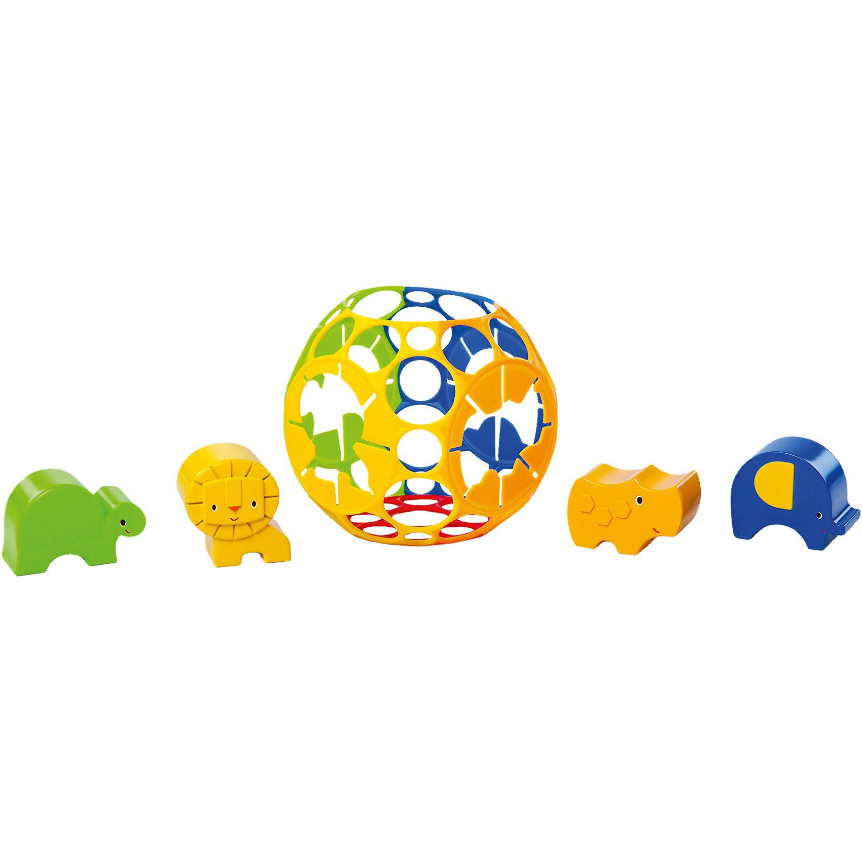 Развивающая игрушка - сортер «Приключения в джунглях», OballСортеры<br>Характеристики игрушки:<br><br>• Предназначение: для развивающих и обучающих занятий<br>• Пол: универсальный<br>• Цвет: желтый, синий, зеленый, оранжевый<br>• Материал: пластик<br>• Комплектация: сортер в форме шара, фигурки черепахи, льва, носорога и слона<br>• Диаметр сортера: 15,5 см<br>• Вес: 360 гр.<br>• Размеры (Д*Ш*В): 20,3*17,8*17,8 см<br><br>Развивающая игрушка - сортер «Приключения в джунглях», Oball предназначена для самых маленьких детей. Игрушка-сортер от Oball выполнена с учетом психо-физиологических особенностей младенческого возраста: она легкая, шар имеет прямые грани, выполнена в ярких цветах. Материал, из которого изготовлена игрушка отвечает всем международным стандартам качества и безопасности. Комплект состоит из шара-сортера и 4 фигурок животных. Задача ребенка заключается в том, чтобы правильно подобрать силуэт и соответствующего ему животного. Грань с силуэтом и фигурка животного выполнены в одинаковых цветах.<br><br>Развивающая игрушка - сортер «Приключения в джунглях», Oball обеспечит не только увлекательный досуг вашему ребенку, но и позволит развивать у него пространственное мышление, мелкую моторику рук, кроме того эта игрушка позволит познакомить ребенка с основными цветами и животным миром джунглей. <br><br>Развивающую игрушку - сортер «Приключения в джунглях», Oball можно купить в нашем интернет-магазине.<br><br>Подробнее:<br>Для детей в возрасте: от 6 месяцев до 2 лет<br>Номер товара: 4585925<br>Страна производитель: Китай<br><br>Ширина мм: 245<br>Глубина мм: 180<br>Высота мм: 184<br>Вес г: 265<br>Возраст от месяцев: 6<br>Возраст до месяцев: 24<br>Пол: Унисекс<br>Возраст: Детский<br>SKU: 4585925