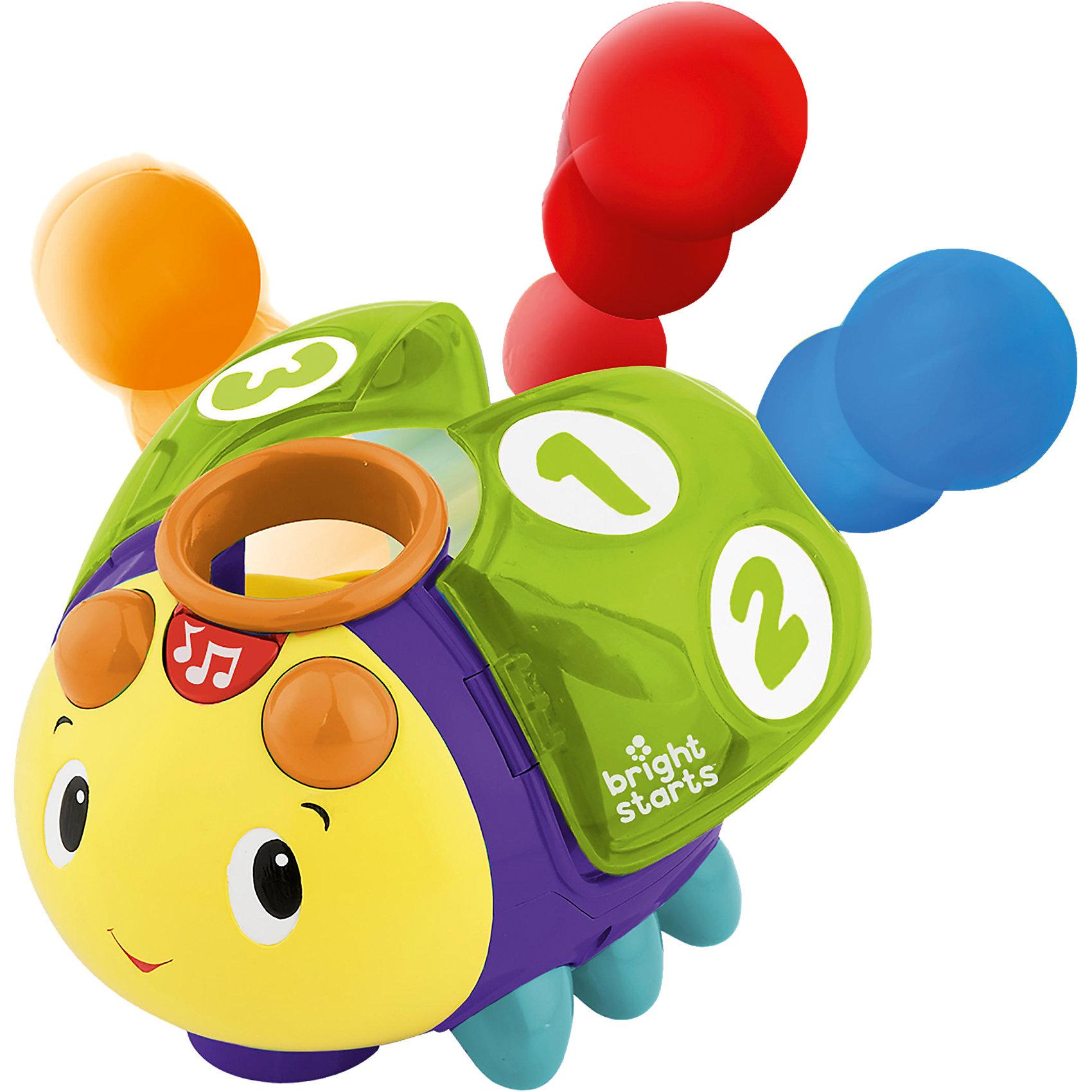 Развивающая игрушка «Жучок 1-2-3», Bright StartsХарактеристики развивающей игрушки Bright Starts:<br><br>• размер жучка: 15х15х19 см;<br>• во время движения шарики внутри жучка вращаются;<br>• звуковые эффекты: песенка-считалка;<br>• размеры упаковки: 24х20х19 см;<br>• батарейки включены в комплект: 3 шт. типа АА.<br><br>Музыкальная игрушка «Жучок 1-2-3» передвигается по ровной поверхности, имеет отверстие для шариков, на крылышках изображены крупные цифры от 1 до 3. Чтобы извлечь шарики, необходимо поднять крылышки жучка. Во время движения звучит приятная мелодия. Когда жучок наткнется на препятствие, он разворачивается и продолжает свой путь. <br><br>Развивающую игрушку «Жучок 1-2-3», Bright Starts можно купить в нашем интернет-магазине.<br><br>Ширина мм: 200<br>Глубина мм: 200<br>Высота мм: 241<br>Вес г: 829<br>Возраст от месяцев: 6<br>Возраст до месяцев: 24<br>Пол: Унисекс<br>Возраст: Детский<br>SKU: 4585928