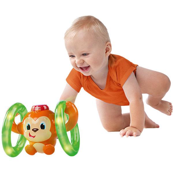 Развивающая игрушка «Обезьянка на кольцах», Bright StartsКаталки и качалки<br>Характеристики электронной игрушки Bright Starts:<br><br>• размер обезьянки: 19х13х13 см;<br>• размер упаковки: 23х15,5х24 см;<br>• световые эффекты – встроенные светодиодные лампочки;<br>• звуковые эффекты – воспроизведение ритмичных мелодий;<br>• батарейки включены в комплект игрового набора: 2 шт. типа АА.<br><br>Развивающая игрушка для полугодовалых крох «Обезьянка на кольцах» приводится в движение нажатием на шляпку. Колесики начинают вращаться, обезьянка крутит колесики лапками. Во время движения звучит музыка. Игрушка провоцирует малыша «догнать» обезьянку. <br><br>Развивающую игрушку «Обезьянка на кольцах», Bright Starts можно купить в нашем интернет-магазине.<br>Ширина мм: 231; Глубина мм: 154; Высота мм: 242; Вес г: 697; Возраст от месяцев: 6; Возраст до месяцев: 24; Пол: Унисекс; Возраст: Детский; SKU: 4585931;