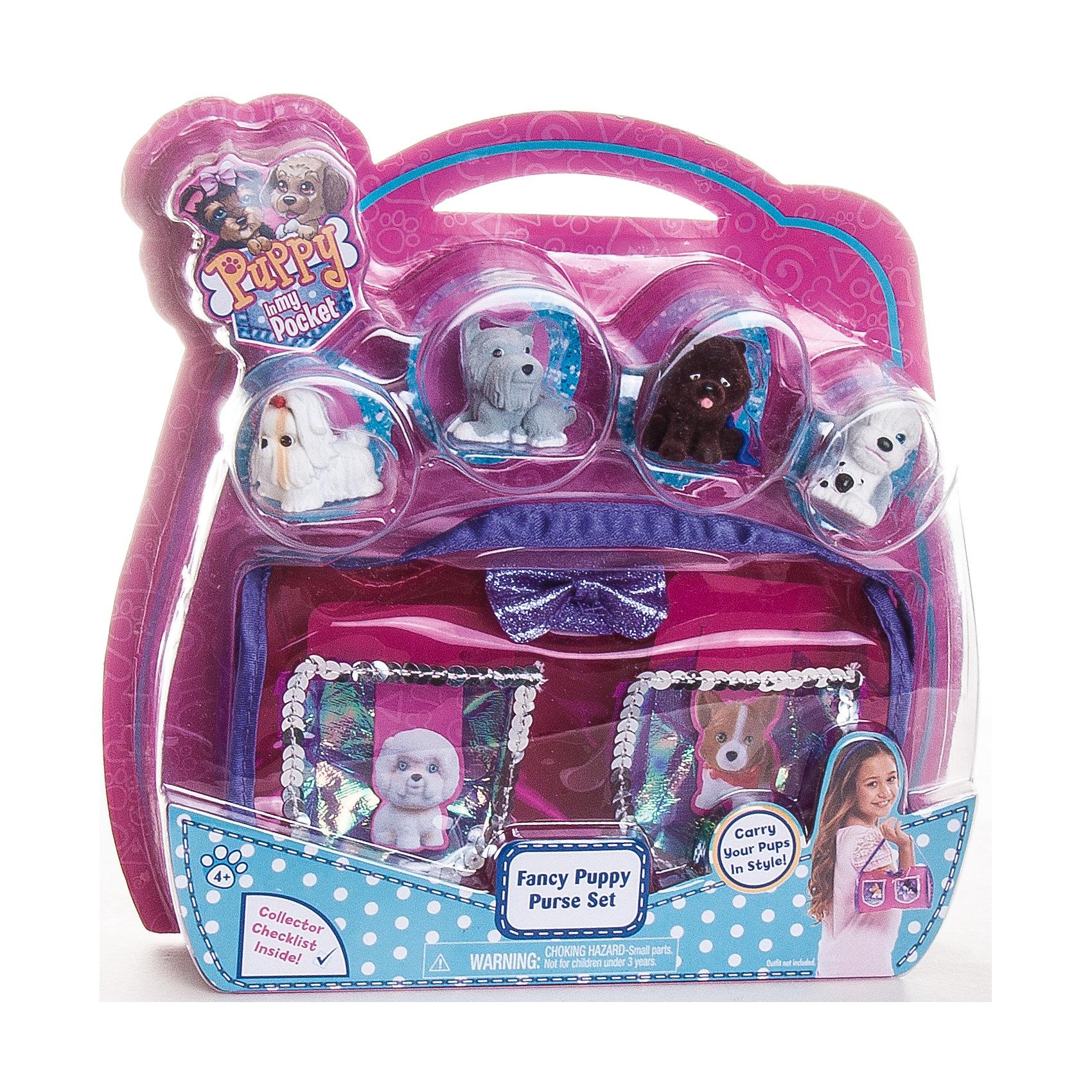 Сумочка с 4 флокированными щенками, Puppy in my pocket, в ассортиментеКоллекционные и игровые фигурки<br>Яркая стильная сумочка с четырьмя мягкими щеночками внутри приведет в восторг любую девочку! Сумочка имеет прозрачные кармашки, сквозь которые видно фигурки собачек. В ассортименте 3 варианта с различными цветами сумочек и коллекционными щенками.<br>Puppy In My Pocket (Щенок в моём кармане) – это новый бренд игрушек, созданных по одноименному мультфильму, объединяющий более 100 различных персонажей! Симпатичные маленькие пластиковые собачки имеют специальное текстильное напыление (флокирование), делающее их очень приятными на ощупь. <br><br>Дополнительная информация:<br><br>- Материал: пластик, флок.<br>- Размер упаковки: 22,5 ? 4,5 ? 24 см. <br>- Сумочка в ассортименте (3 варианта).<br>ВНИМАНИЕ! Данный артикул представлен в разных вариантах исполнения. К сожалению, заранее выбрать определенный вариант невозможно. При заказе нескольких сумочек возможно получение одинаковых.<br><br>Сумочку с 4 флокированными щенками, Puppy in my pocket, в ассортименте, можно нашем магазине.<br><br>Ширина мм: 230<br>Глубина мм: 250<br>Высота мм: 50<br>Вес г: 290<br>Возраст от месяцев: 36<br>Возраст до месяцев: 120<br>Пол: Женский<br>Возраст: Детский<br>SKU: 4587473