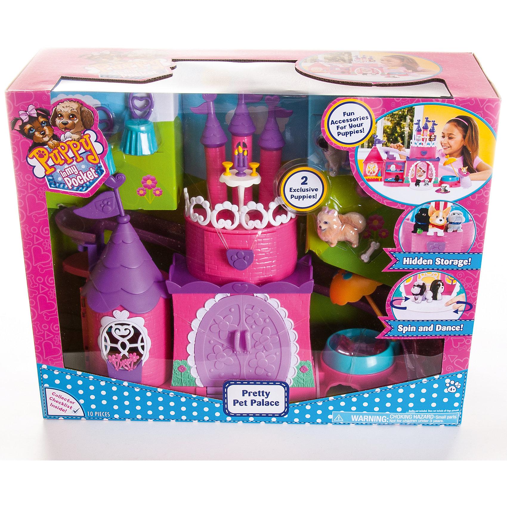 Дворец для щенков, Puppy in my pocketКоллекционные и игровые фигурки<br>Большой, яркий, красочный, интересный набор со множеством игровых функций приведет в восторг любую девочку. Теперь очаровательные щенки смогут жить в своем собственном дворце, устраивать приемы, общаться и дружить!<br>Puppy In My Pocket (Щенок в моём кармане) – это новый бренд игрушек, созданных по одноименному мультфильму, объединяющий более 100 различных персонажей! Симпатичные маленькие пластиковые собачки имеют специальное текстильное напыление (флокирование), делающее их очень приятными на ощупь. <br><br>Дополнительная информация:<br><br>- Материал: пластик, флок. <br>- Размер упаковки: 40х14х33 см.<br>- Комплектация: 2 эксклюзивных щенка, горка, потайной ящик, крутящийся танцпол, 2 стула, подсвечник,  кость для щенков, 2 чашки, санки (2 шт). <br>- Танцпол вращается.<br>- Двери замка открываются. <br><br>Дворец для щенков, Puppy in my pocket, можно купить в нашем магазине.<br><br>Ширина мм: 140<br>Глубина мм: 330<br>Высота мм: 405<br>Вес г: 1700<br>Возраст от месяцев: 36<br>Возраст до месяцев: 120<br>Пол: Женский<br>Возраст: Детский<br>SKU: 4587474
