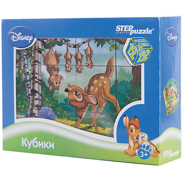 Кубики Бэмби, 12 шт, Step PuzzleКубики<br>Кубики Бэмби, 12 шт, Step Puzzle (Степ Пазл) - это кубики с яркими запоминающимися картинками.<br>Красочный набор кубиков с иллюстрациями к мультфильму Disney Бемби предназначен для развития логики, зрительной памяти и внимания у детей младшего возраста. Из 12 кубиков можно составить 6 разных сюжетов из любимого мультфильма. Кубики изготовлены из легкого прочного пластика. Яркие, сочные картинки, наклеенные на пластик, хорошо держатся, рисунки глянцевые. Наборы из 12 кубиков – для тех, кто освоил навык сборки картинки из 9 кубиков. Заложенный дидактический принцип «от простого к сложному» позволит ребёнку поверить в свои силы.<br><br>Дополнительная информация:<br><br>- В наборе: 12 кубиков<br>- Сторона кубика: 4 см.<br>- Размер готовой картинки: 12х16 см.<br>- Материал: пластик, картон<br>- Упаковка: картонная коробка<br>- Размер упаковки: 160x40x120 мм.<br>- Вес: 400 гр.<br><br>Кубики Бэмби, 12 шт, Step Puzzle (Степ Пазл) можно купить в нашем интернет-магазине.<br>Ширина мм: 160; Глубина мм: 40; Высота мм: 120; Вес г: 400; Возраст от месяцев: 36; Возраст до месяцев: 84; Пол: Унисекс; Возраст: Детский; SKU: 4588232;