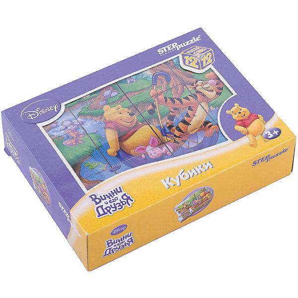 Кубики Винни Пух, 12 шт, Step PuzzleКубики<br>Кубики Винни Пух, 12 шт, Step Puzzle (Степ Пазл) - это кубики с яркими запоминающимися картинками.<br>Красочный набор кубиков с иллюстрациями к мультфильму Disney про забавного медвежонка Винни предназначен для развития логики, зрительной памяти и внимания у детей младшего возраста. Из 12 кубиков можно составить 6 разных сюжетов из любимого мультфильма. Кубики изготовлены из легкого прочного пластика. Яркие, сочные картинки, наклеенные на пластик, хорошо держатся, рисунки глянцевые. Наборы из 12 кубиков – для тех, кто освоил навык сборки картинки из 9 кубиков. Заложенный дидактический принцип «от простого к сложному» позволит ребёнку поверить в свои силы.<br><br>Дополнительная информация:<br><br>- В наборе: 12 кубиков<br>- Сторона кубика: 4 см.<br>- Размер готовой картинки: 12х16 см.<br>- Материал: пластик, картон<br>- Упаковка: картонная коробка<br>- Размер упаковки: 160x40x120 мм.<br>- Вес: 400 гр.<br><br>Кубики Винни Пух, 12 шт, Step Puzzle (Степ Пазл) можно купить в нашем интернет-магазине.<br>Ширина мм: 160; Глубина мм: 40; Высота мм: 120; Вес г: 400; Возраст от месяцев: 36; Возраст до месяцев: 84; Пол: Унисекс; Возраст: Детский; SKU: 4588233;