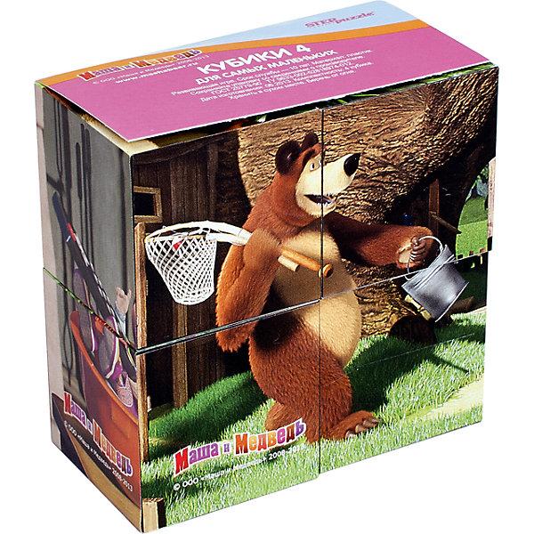 Кубики Маша и Медведь, 4 шт, Step PuzzleКубики<br>Кубики Маша и Медведь, 4 шт, Step Puzzle (Степ Пазл) - это кубики с яркими запоминающимися картинками.<br>Красочный набор кубиков с иллюстрациями к мультсериалу «Маша и Медведь» специально разработан для самых маленьких.  Из 4 кубиков можно составить 6 разных сюжетов из любимого мультфильма. Кубики изготовлены из легкого прочного пластика. Кубики – это увлекательная игра и полезное занятие, развивающее логику, мелкую моторику, внимание и мышление малыша. Кроме того, занятия с кубиками помогают малышу усвоить такие важные понятия как часть и целое.<br><br>Дополнительная информация:<br><br>- В наборе: 4 кубика<br>- Материал: пластик<br>- Сторона кубика: 4 см.<br>- Размер готовой картинки: 8х8 см.<br>- Упаковка: картонная коробка<br>- Размер упаковки: 80x40x80 мм.<br><br>Кубики Маша и Медведь, 4 шт, Step Puzzle (Степ Пазл) можно купить в нашем интернет-магазине.<br>Ширина мм: 80; Глубина мм: 40; Высота мм: 80; Вес г: 400; Возраст от месяцев: 12; Возраст до месяцев: 60; Пол: Унисекс; Возраст: Детский; SKU: 4588241;