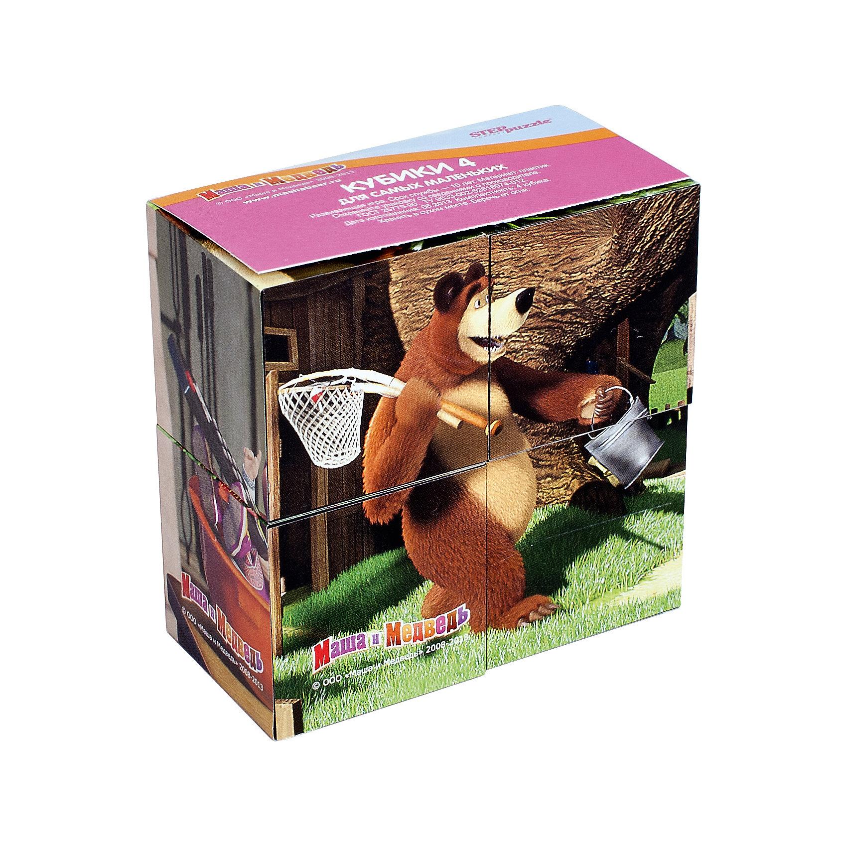 Кубики Маша и Медведь, 4 шт, Step PuzzleПопулярные игрушки<br>Кубики Маша и Медведь, 4 шт, Step Puzzle (Степ Пазл) - это кубики с яркими запоминающимися картинками.<br>Красочный набор кубиков с иллюстрациями к мультсериалу «Маша и Медведь» специально разработан для самых маленьких.  Из 4 кубиков можно составить 6 разных сюжетов из любимого мультфильма. Кубики изготовлены из легкого прочного пластика. Кубики – это увлекательная игра и полезное занятие, развивающее логику, мелкую моторику, внимание и мышление малыша. Кроме того, занятия с кубиками помогают малышу усвоить такие важные понятия как часть и целое.<br><br>Дополнительная информация:<br><br>- В наборе: 4 кубика<br>- Материал: пластик<br>- Сторона кубика: 4 см.<br>- Размер готовой картинки: 8х8 см.<br>- Упаковка: картонная коробка<br>- Размер упаковки: 80x40x80 мм.<br><br>Кубики Маша и Медведь, 4 шт, Step Puzzle (Степ Пазл) можно купить в нашем интернет-магазине.<br><br>Ширина мм: 80<br>Глубина мм: 40<br>Высота мм: 80<br>Вес г: 400<br>Возраст от месяцев: 12<br>Возраст до месяцев: 60<br>Пол: Унисекс<br>Возраст: Детский<br>SKU: 4588241