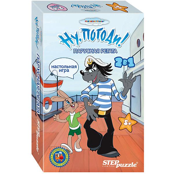 Игра Парусная регата, Ну, Погоди!, Step PuzzleНастольные игры ходилки<br>Игра Парусная регата, Ну, Погоди!, Step Puzzle (Степ Пазл) – это игра-ходилка для занимательных семейных вечеров и путешествий.<br>Игра Парусная регата, Ну, Погоди! - это две игры-ходилки, созданные по мотивам советского мультфильма «Ну, погоди!». Игровое поле «Змеи и лестницы» разбито на клетки, которые пронумерованы числами от 1 до 80. На продвижение фишек влияют специальные клетки двух типов: начало лестниц и головы змей. Если фишка игрока оказалась на нижней ступеньке лестницы, то она поднимается вверх до последней ступени. Наступив на голову змеи, фишка игрока спускается вниз к её хвосту. Победителем станет игрок, который первым дойдет до клетки №80. На игровом поле «Парусная регата» фишки игроков будут двигаться по кругу, т.е. старт и финиш находятся в одной точке. Белые локации не влияют на передвижение фишек участников, а цветные могут, как улучшить, так и ухудшить положение игрока. Игра способствует развитию внимания, концентрации, коммуникативных навыков. Благодаря небольшим размерам игру можно брать с собой в дорогу и в гости.<br><br>Дополнительная информация:<br><br>- Возраст: от 5 лет<br>- В комплекте: двустороннее игровое поле; 4 цветные фишки; 16 жетонов; 1 игральный кубик; правила игры<br>- Материал: картон, пластик<br>- Количество игроков: от 2 до 4 человек<br>- Продолжительность игры: 15 мин<br>- Упаковка: картонная коробка<br>- Размер упаковки: 14х4х22 см.<br><br>Игру Парусная регата, Ну, Погоди!, Step Puzzle (Степ Пазл) можно купить в нашем интернет-магазине.<br>Ширина мм: 140; Глубина мм: 40; Высота мм: 220; Вес г: 400; Возраст от месяцев: 60; Возраст до месяцев: 120; Пол: Унисекс; Возраст: Детский; SKU: 4588245;