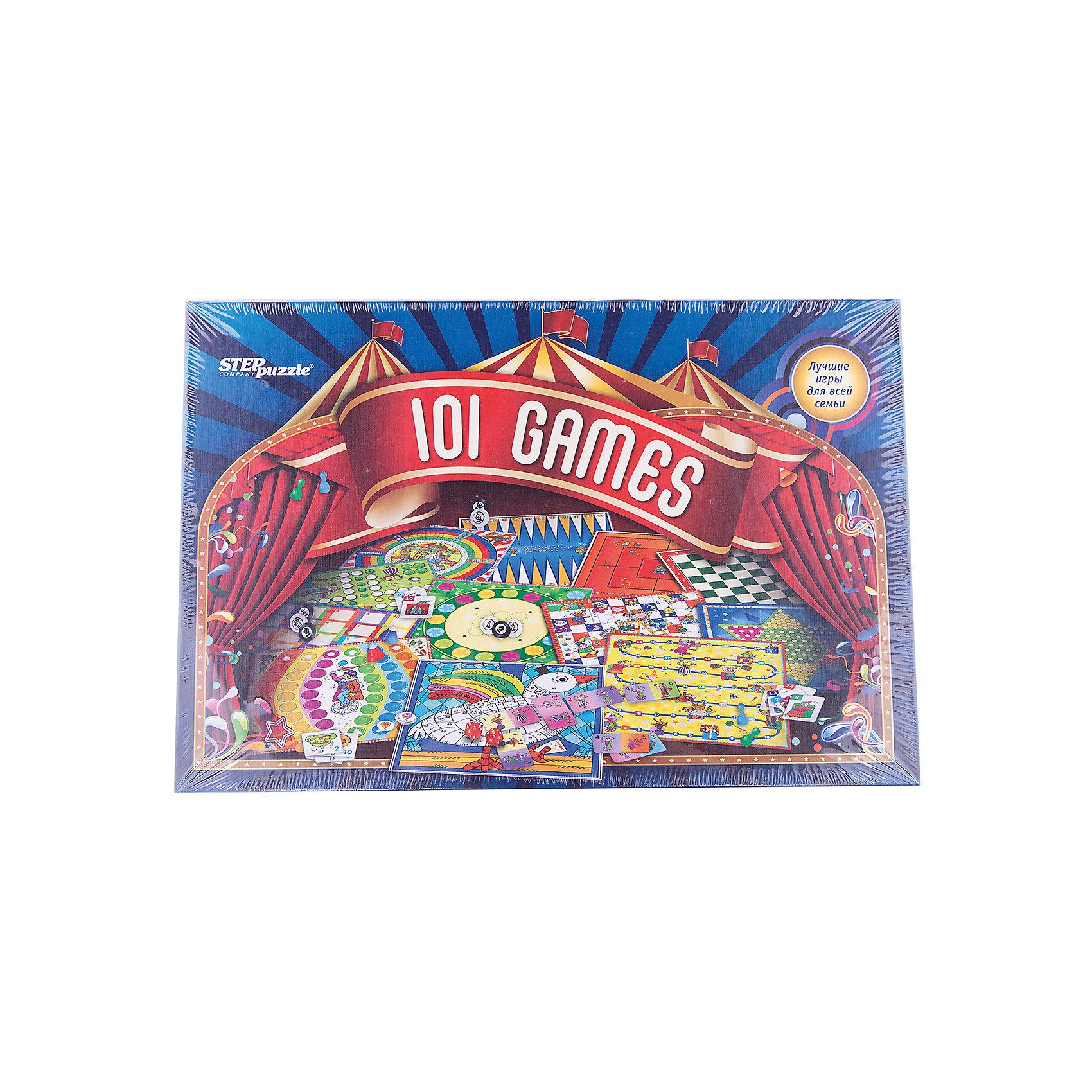 101 лучшая игра мира, Step PuzzleИгры мемо<br>101 лучшая игра мира, Step Puzzle (Степ Пазл) – это увлекательные настольные игры для всей семьи.<br>Мы собрали в одной коробке 100 и 1 лучшую игру со всего мира. Здесь Вы найдете: мемо и карточные игры, шахматы и шашки, нарды, различные игры-бродилки и игры с кубиками. Также можно поиграть в игру на ловкость, в которой с помощью катапульт нужно забрасывать колпачки в отверстия на специальном поле. Все игры входящие в комплект очень разнообразны и будут интересны как детям, так и их родителям.<br><br>Дополнительная информация:<br><br>- В комплекте: двусторонние игровые поля - 6 шт.; 32 шашки; 32 наклейки на шашки (8 шт. запасные); 3 кубика с точками; 2 цветных кубика; фишки (красные, желтые, зеленые, синие - по 16 шт.); фишки (оранжевые и фиолетовые - по 10 шт.); 13 жетонов; колпачки четырех цветов - 12 шт.; батут сборный из картона; 4 катапульты; маленькие парные карточки - 26 шт.; большие парные карточки - 30 шт.; книга с правилами<br>- Материал: пластик, картон<br>- Упаковка: картонная коробка<br>- Размер упаковки: 400x40x270 мм.<br>- Вес: 1, 624 кг.<br><br>Набор «101 лучшая игра мира», Step Puzzle (Степ Пазл) можно купить в нашем интернет-магазине.<br><br>Ширина мм: 400<br>Глубина мм: 60<br>Высота мм: 270<br>Вес г: 400<br>Возраст от месяцев: 36<br>Возраст до месяцев: 144<br>Пол: Унисекс<br>Возраст: Детский<br>SKU: 4588259