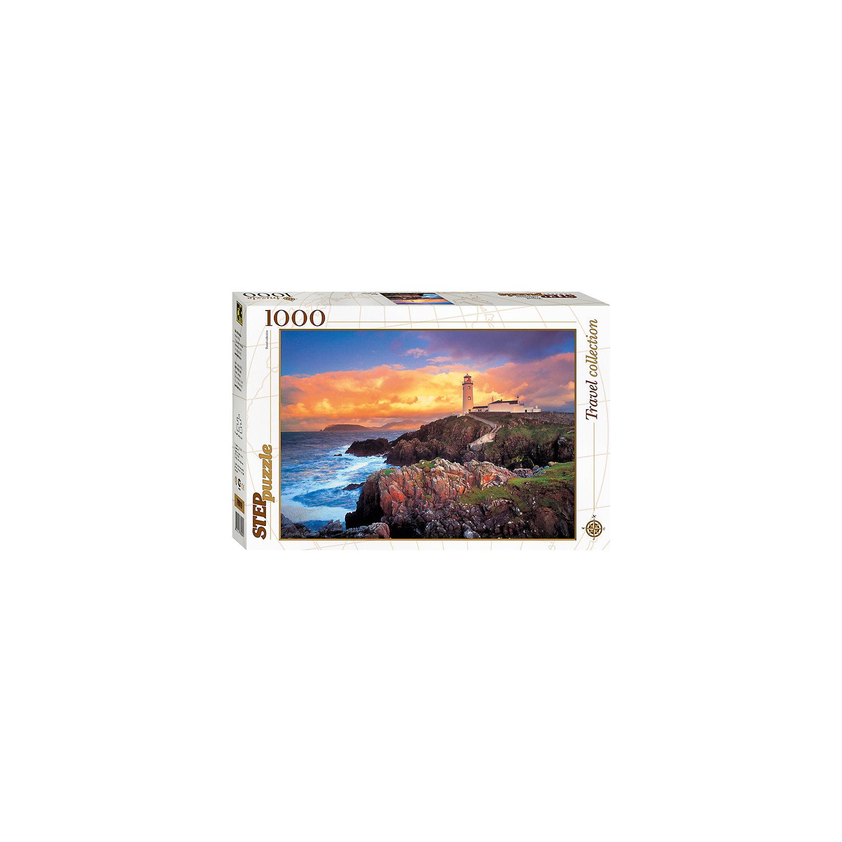 Пазл Маяк, 1000 деталей, Step PuzzleКлассические пазлы<br>Пазл Маяк, 1000 деталей, Step Puzzle (Степ Пазл) – это коллекционный подарочный пазл из серии «Travel Collection».<br>Собрав это пазл, Вы получите прекрасный предзакатный пейзаж, где лучи заходящего солнца, освящают одинокий маяк, стоящий вдалеке, а бирюзовые волны солеными брызгами разбиваются о прибрежные скалы, покрытые зеленой травой. Собирается картина из 1000 аккуратно вырезанных элементов. Благодаря великолепному качеству исполнения, высокой точности в подгонке деталей, плотности картона, а также высокой контрастности, во время сборки у вас не возникнет абсолютно никаких затруднений. Получившаяся картина впишется в любой интерьер. Рекомендуется приобрести специальный клей для пазлов, который скрепит пазл, придаст ему сходство с цельной картиной.<br><br>Дополнительная информация:<br><br>- Количество деталей: 1000<br>- Материал: картон<br>- Размер собранной картины: 68х48 см.<br>- Отличная проклейка<br>- Детали идеально подходят друг другу<br>- Упаковка: картонная коробка<br>- Размер упаковки: 400x55x270 мм.<br>- Вес: 600 гр.<br><br>Пазл Маяк, 1000 деталей, Step Puzzle (Степ Пазл) можно купить в нашем интернет-магазине.<br><br>Ширина мм: 400<br>Глубина мм: 55<br>Высота мм: 270<br>Вес г: 600<br>Возраст от месяцев: 84<br>Возраст до месяцев: 192<br>Пол: Унисекс<br>Возраст: Детский<br>SKU: 4588263