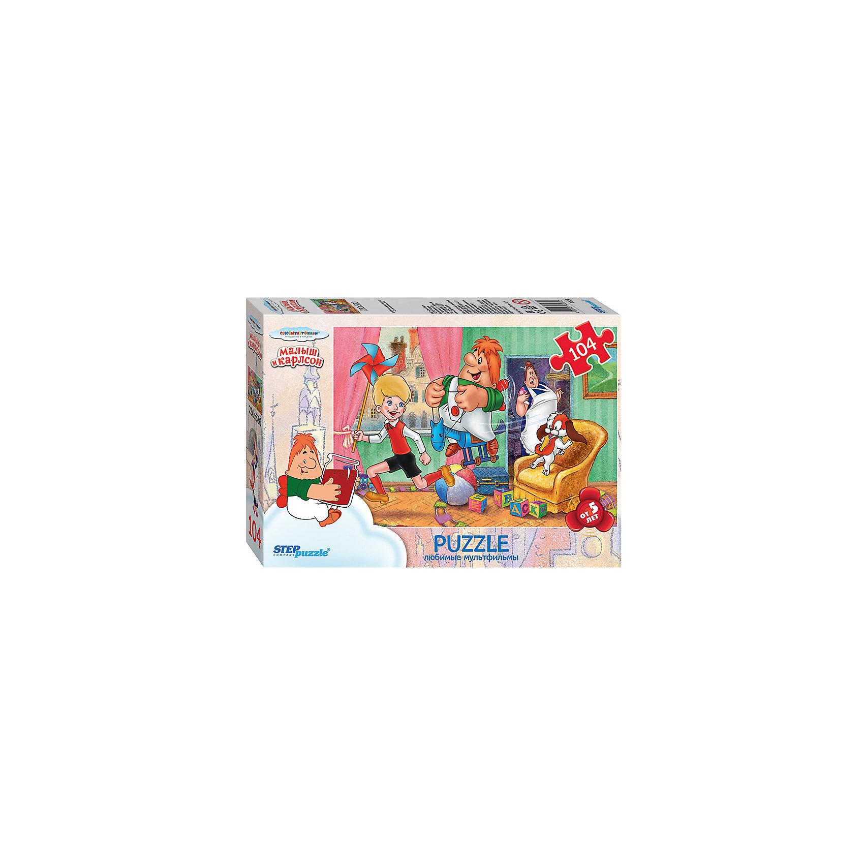 Пазл Малыш и Карлсон, 104 детали, Step PuzzleПазлы для детей постарше<br>Пазл Малыш и Карлсон, 104 детали, Step Puzzle (Степ Пазл) – это замечательный красочный пазл с изображением любимых героев.<br>Пазлы «Союзмультфильм» от Step Puzzle (Степ Пазл) – напомнят о любимых сказочных героях знакомых с детства мультфильмов. Подарите ребенку чудесный пазл Малыш и Карлсон, и он будет увлеченно подбирать детали, пока не составит яркую и интересную картинку, на которой Малыш и Карлсон расшалились и не замечают, что за ними наблюдает Фрекен Бок. Сборка пазла Малыш и Карлсон от Step Puzzle (Степ Пазл) подарит Вашему ребенку не только множество увлекательных вечеров, но и принесет пользу для развития. Координация, моторика, внимательность легко тренируются, пока ребенок увлеченно подбирает детали. Качественные фрагменты пазла отлично проклеены и идеально подходят один к другому, поэтому сборка пазла обеспечит малышу только положительные эмоции. Вы будете использовать этот пазл не один год, ведь благодаря качественной нарезке детали не расслаиваются даже после многократного использования.<br><br>Дополнительная информация:<br><br>- Количество деталей: 104<br>- Материал: картон<br>- Размер собранной картинки: 33х23 см.<br>- Отличная проклейка<br>- Долгий срок службы<br>- Детали идеально подходят друг другу<br>- Яркий сюжет<br>- Упаковка: картонная коробка<br>- Размер упаковки: 195x35x140 мм.<br>- Вес: 400 гр.<br><br>Пазл Малыш и Карлсон, 104 детали, Step Puzzle (Степ Пазл) можно купить в нашем интернет-магазине.<br><br>Ширина мм: 195<br>Глубина мм: 35<br>Высота мм: 140<br>Вес г: 400<br>Возраст от месяцев: 60<br>Возраст до месяцев: 144<br>Пол: Унисекс<br>Возраст: Детский<br>Количество деталей: 104<br>SKU: 4588271