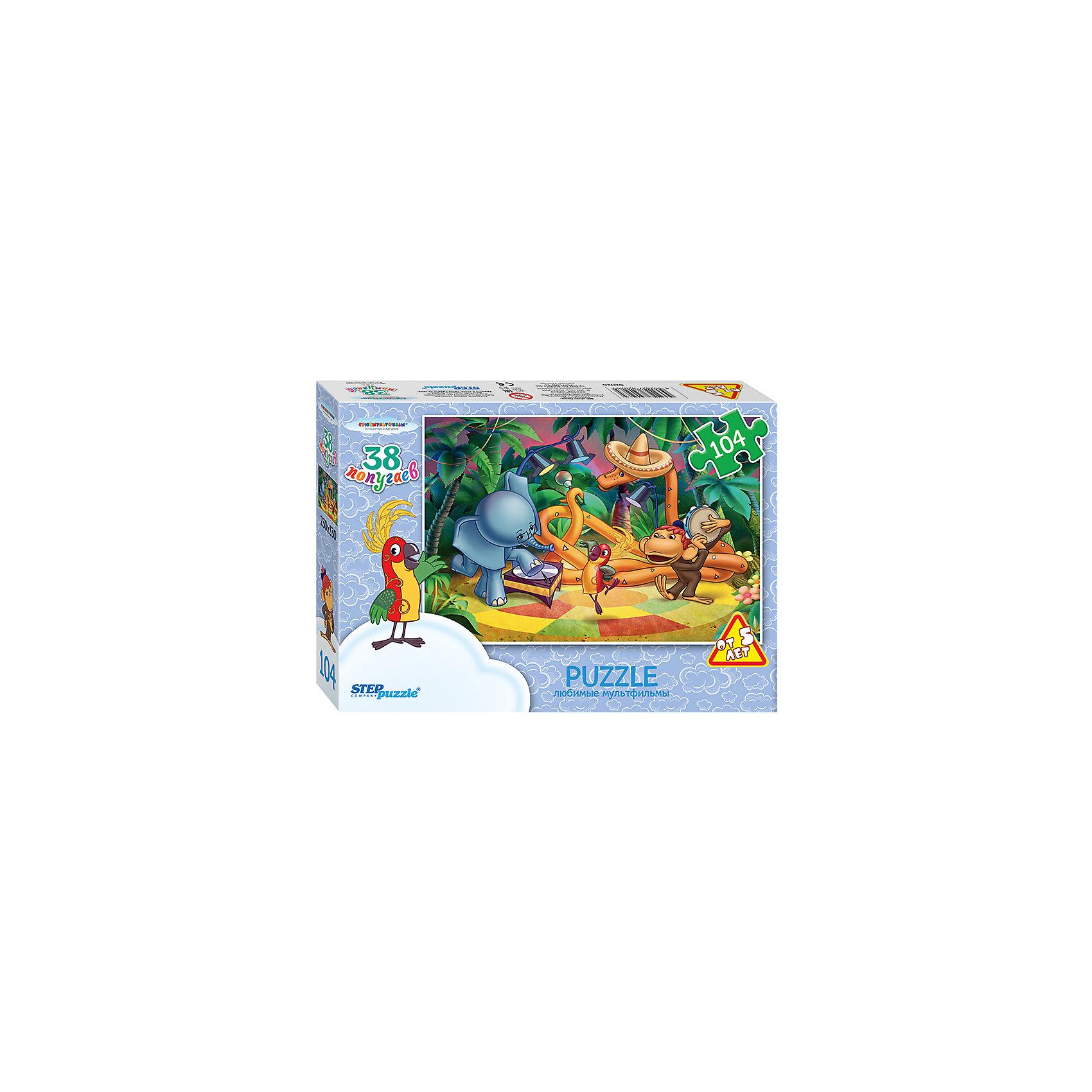 Пазл Тридцать восемь попугаев, 104 детали, Step PuzzleПазл Тридцать восемь попугаев, 104 детали, Step Puzzle (Степ Пазл) – это замечательный красочный пазл с изображением любимых героев.<br>Пазлы «Союзмультфильм» от Step Puzzle (Степ Пазл) – напомнят о любимых сказочных героях знакомых с детства мультфильмов. Подарите ребенку чудесный пазл Тридцать восемь попугаев, и он будет увлеченно подбирать детали, пока не составит яркую и интересную картинку, на которой изображены любимые герои: Удав, Мартышка, Попугай и Слоненок. Удав одел сомбреро, и играет на маракасе, Мартышка весело бьет в бубен, а Попугай и Слоненок танцуют. Сборка пазла Тридцать восемь попугаев от Step Puzzle (Степ Пазл) подарит Вашему ребенку не только множество увлекательных вечеров, но и принесет пользу для развития. Координация, моторика, внимательность легко тренируются, пока ребенок увлеченно подбирает детали. Качественные фрагменты пазла отлично проклеены и идеально подходят один к другому, поэтому сборка пазла обеспечит малышу только положительные эмоции. Вы будете использовать этот пазл не один год, ведь благодаря качественной нарезке детали не расслаиваются даже после многократного использования.<br><br>Дополнительная информация:<br><br>- Количество деталей: 104<br>- Материал: картон<br>- Размер собранной картинки: 33х23 см.<br>- Отличная проклейка<br>- Долгий срок службы<br>- Детали идеально подходят друг другу<br>- Яркий сюжет<br>- Упаковка: картонная коробка<br>- Размер упаковки: 195x35x140 мм.<br>- Вес: 400 гр.<br><br>Пазл Тридцать восемь попугаев, 104 детали, Step Puzzle (Степ Пазл) можно купить в нашем интернет-магазине.<br><br>Ширина мм: 195<br>Глубина мм: 35<br>Высота мм: 140<br>Вес г: 400<br>Возраст от месяцев: 60<br>Возраст до месяцев: 144<br>Пол: Унисекс<br>Возраст: Детский<br>SKU: 4588272