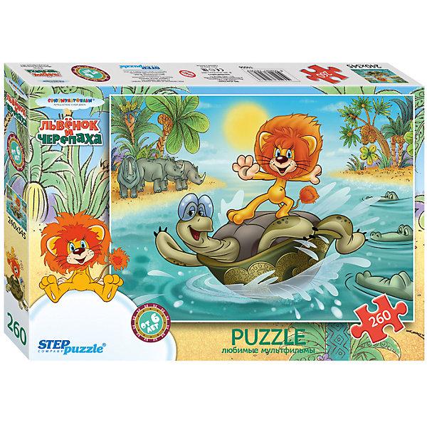 Пазл Львенок и черепаха, 260 деталей, Step PuzzleСоветские мультфильмы<br>Пазл Львенок и черепаха, 260 деталей, Step Puzzle (Степ Пазл) – это замечательный красочный пазл с изображением любимых героев.<br>Подарите ребенку чудесный пазл Львенок и черепаха, и он будет увлеченно подбирать детали, пока не составит яркую и интересную картинку, на которой изображены герои мультфильма «Как львенок и черепаха пели песню». Сборка пазла Львенок и черепаха от Step Puzzle (Степ Пазл) подарит Вашему ребенку не только множество увлекательных вечеров, но и принесет пользу для развития. Координация, моторика, внимательность легко тренируются, пока ребенок увлеченно подбирает детали. Качественные фрагменты пазла отлично проклеены и идеально подходят один к другому, поэтому сборка пазла обеспечит малышу только положительные эмоции. Вы будете использовать этот пазл не один год, ведь благодаря качественной нарезке детали не расслаиваются даже после многократного использования.<br><br>Дополнительная информация:<br><br>- Количество деталей: 260<br>- Материал: картон<br>- Размер собранной картинки: 34,5х24 см.<br>- Отличная проклейка<br>- Долгий срок службы<br>- Детали идеально подходят друг другу<br>- Яркий сюжет<br>- Упаковка: картонная коробка<br>- Размер упаковки: 280x40x195 мм.<br>- Вес: 400 гр.<br><br>Пазл Львенок и черепаха, 260 деталей, Step Puzzle (Степ Пазл) можно купить в нашем интернет-магазине.<br>Ширина мм: 280; Глубина мм: 40; Высота мм: 195; Вес г: 400; Возраст от месяцев: 72; Возраст до месяцев: 192; Пол: Унисекс; Возраст: Детский; Количество деталей: 260; SKU: 4588285;
