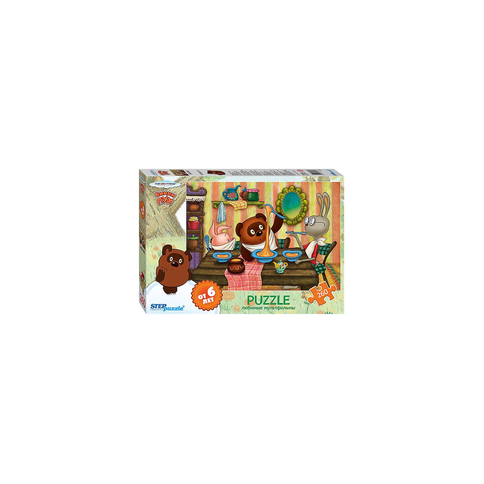 Пазл Винни Пух, 260 деталей, Step PuzzleПазл Винни Пух, 260 деталей, Step Puzzle (Степ Пазл) – это замечательный красочный пазл с изображением любимых героев.<br>Пазлы «Союзмультфильм» от Step Puzzle (Степ Пазл) – напомнят о любимых сказочных героях знакомых с детства мультфильмов. Подарите ребенку чудесный пазл Винни Пух, и он будет увлеченно подбирать детали, пока не составит яркую и интересную картинку, на которой Винни Пух и Пятачок пришли в гости к Кролику. Сборка пазла Винни Пух от Step Puzzle (Степ Пазл) подарит Вашему ребенку не только множество увлекательных вечеров, но и принесет пользу для развития. Координация, моторика, внимательность легко тренируются, пока ребенок увлеченно подбирает детали. Качественные фрагменты пазла отлично проклеены и идеально подходят один к другому, поэтому сборка пазла обеспечит малышу только положительные эмоции. Вы будете использовать этот пазл не один год, ведь благодаря качественной нарезке детали не расслаиваются даже после многократного использования.<br><br>Дополнительная информация:<br><br>- Количество деталей: 260<br>- Материал: картон<br>- Размер собранной картинки: 34,5х24 см.<br>- Отличная проклейка<br>- Долгий срок службы<br>- Детали идеально подходят друг другу<br>- Яркий сюжет<br>- Упаковка: картонная коробка<br>- Размер упаковки: 280x40x195 мм.<br>- Вес: 400 гр.<br><br>Пазл Винни Пух, 260 деталей, Step Puzzle (Степ Пазл) можно купить в нашем интернет-магазине.<br><br>Ширина мм: 280<br>Глубина мм: 40<br>Высота мм: 195<br>Вес г: 400<br>Возраст от месяцев: 72<br>Возраст до месяцев: 192<br>Пол: Унисекс<br>Возраст: Детский<br>Количество деталей: 260<br>SKU: 4588286
