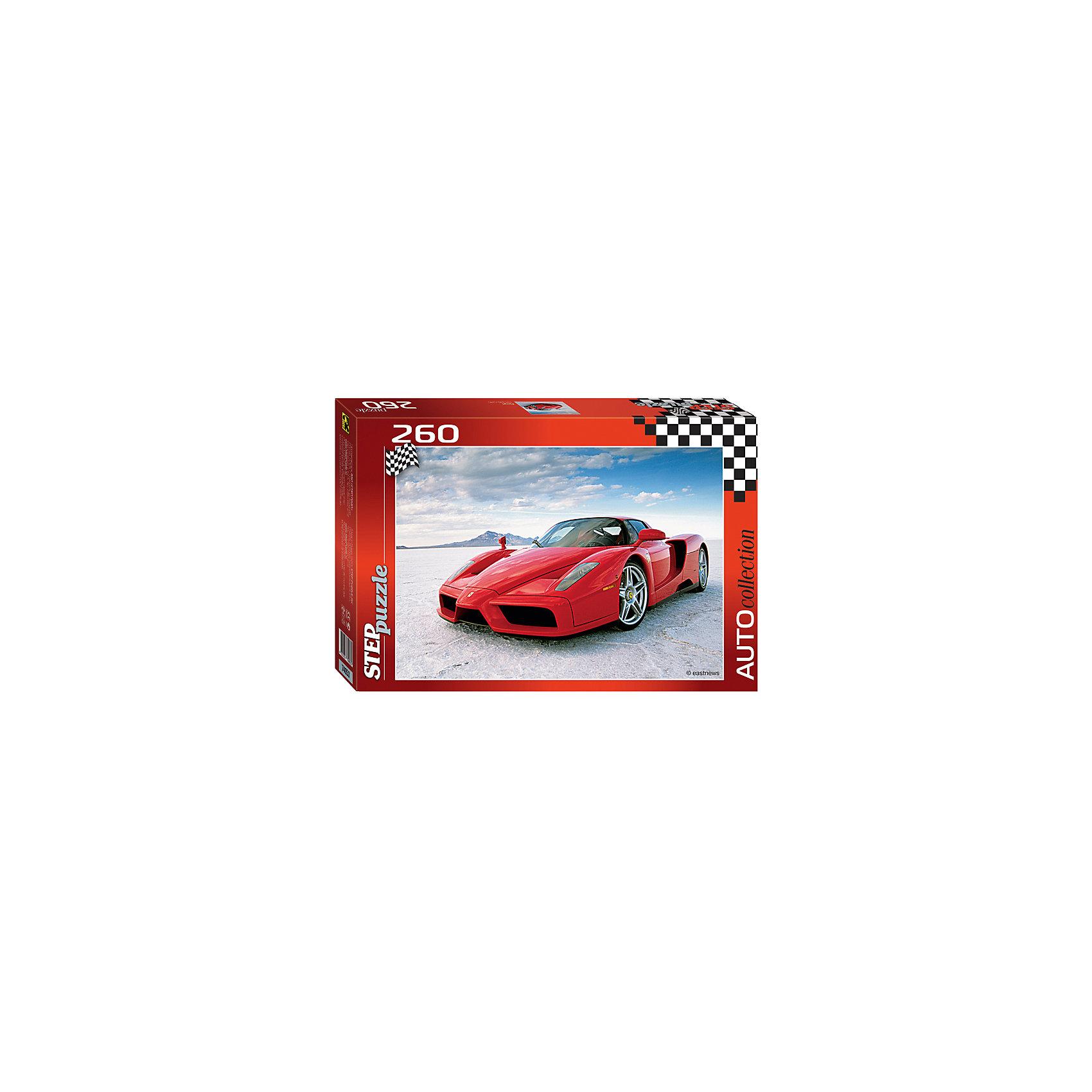 Пазл Феррари, 260 деталей, Step PuzzleПазл Феррари, 260 деталей, Step Puzzle (Степ Пазл) – это замечательный красочный пазл для ценителей крутых автомобилей.<br>Первый автомобиль Ferrari вышел в 1946 году и был разработан самим основателем фирмы Энцо Феррари. Сегодня Ferrari – это скорость и автогонки. Компания всю свою историю была (и продолжает оставаться) неотъемлемой частью мира гонок. Сегодня представить соревнования «Формула 1» без Scuderia Ferrari просто невозможно. Красочный  Феррари от торговой марки Step Puzzle (Степ Пазл) станет прекрасным подарком, как для малышей, так и для взрослых. Все элементы изготовлены из прочного картона. Качественные фрагменты пазла отлично проклеены, не расслаиваются и идеально подходят один к другому, поэтому сборка пазла обеспечит только положительные эмоции. Собрав все детали, Вы получите яркую картинку с изображением стильного спорткара. Занятия с пазлом поспособствуют развитию множества полезных навыков, таких как мелкая моторика рук, пространственное мышление, память и наблюдательность.<br><br>Дополнительная информация:<br><br>- Количество деталей: 260<br>- Материал: картон<br>- Размер собранной картины: 34,5х24 см.<br>- Отличная проклейка<br>- Детали идеально подходят друг другу<br>- Упаковка: картонная коробка<br>- Размер упаковки: 280x40x195 мм.<br>- Вес: 400 гр.<br><br>Пазл Феррари, 260 деталей, Step Puzzle (Степ Пазл) можно купить в нашем интернет-магазине.<br><br>Ширина мм: 280<br>Глубина мм: 40<br>Высота мм: 195<br>Вес г: 400<br>Возраст от месяцев: 72<br>Возраст до месяцев: 192<br>Пол: Унисекс<br>Возраст: Детский<br>SKU: 4588287
