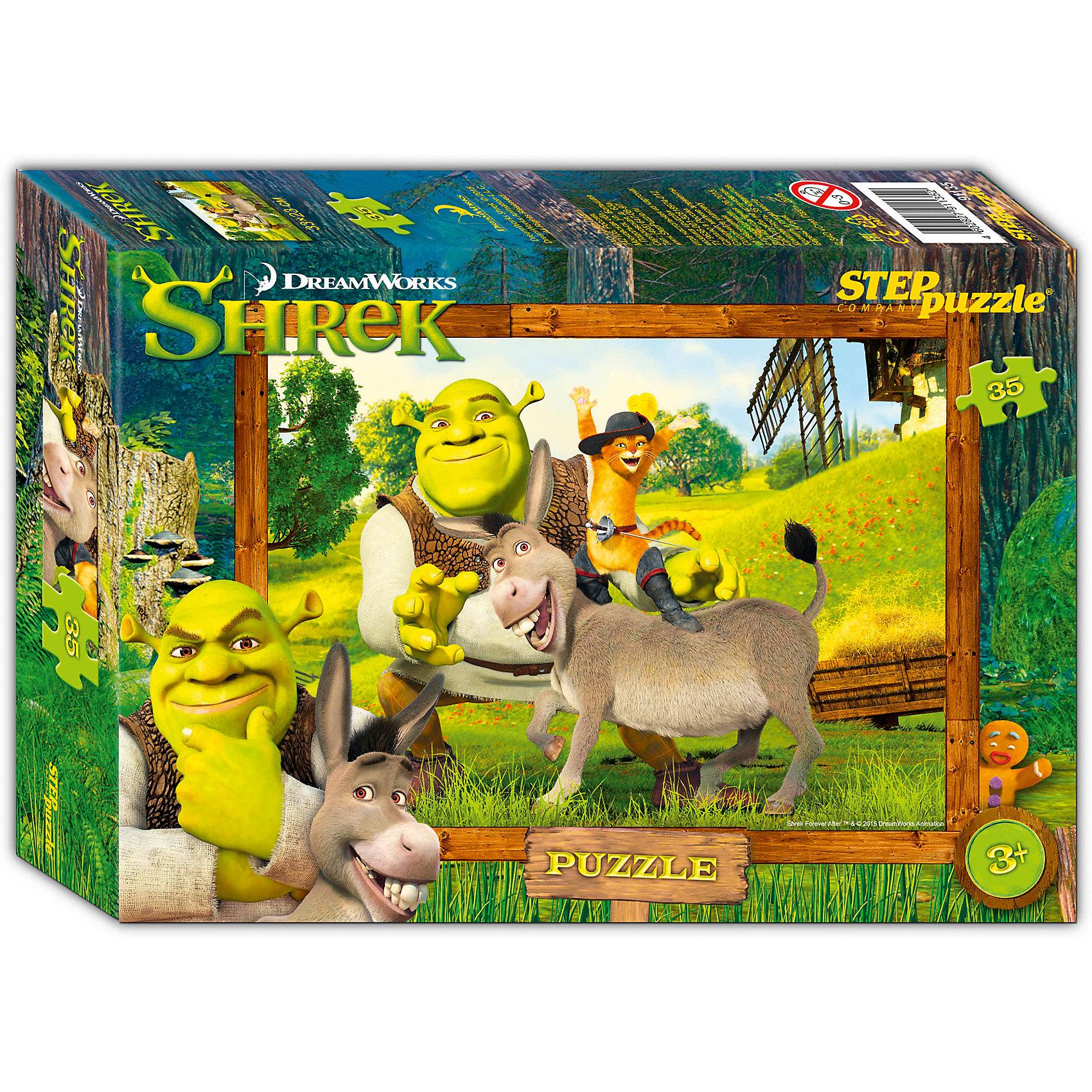 Пазл Шрэк, 35 деталей, Step PuzzleПазлы для малышей<br>Пазл Шрэк, 35 деталей, Step Puzzle (Степ Пазл) – это замечательный красочный пазл с изображением любимых героев.<br>В тридесятом королевстве, на болоте, жил был зеленый великан огр по прозвищу Шрек. Жил не тужил, но в один прекрасный день на его любимую топь пожаловала толпа сказочных героев, согнанных туда, противным лордом Фаркуадом… Соберите пазл и погрузитесь в сказочный мир историй о Шреке. Подарите ребенку чудесный пазл Шрэк, и он будет увлеченно подбирать детали, пока не составит яркую и интересную картинку, на которой изображены герои мультфильма: Шрек, Осел и Кот в сапогах. Сборка пазла Шрэк от Step Puzzle (Степ Пазл) подарит Вашему ребенку не только множество увлекательных вечеров, но и принесет пользу для развития. Координация, моторика, внимательность легко тренируются, пока ребенок увлеченно подбирает детали. Качественные фрагменты пазла отлично проклеены и идеально подходят один к другому, поэтому сборка пазла обеспечит малышу только положительные эмоции. Вы будете использовать этот пазл не один год, ведь благодаря качественной нарезке детали не расслаиваются даже после многократного использования.<br><br>Дополнительная информация:<br><br>- Количество деталей: 35<br>- Материал: картон<br>- Размер собранной картинки: 33х23 см.<br>- Отличная проклейка<br>- Долгий срок службы<br>- Детали идеально подходят друг другу<br>- Яркий сюжет<br>- Упаковка: картонная коробка<br>- Размер упаковки: 195x35x140 мм.<br>- Вес: 200 гр.<br><br>Пазл Шрэк, 35 деталей, Step Puzzle (Степ Пазл) можно купить в нашем интернет-магазине.<br><br>Ширина мм: 195<br>Глубина мм: 35<br>Высота мм: 140<br>Вес г: 200<br>Возраст от месяцев: 36<br>Возраст до месяцев: 84<br>Пол: Унисекс<br>Возраст: Детский<br>Количество деталей: 35<br>SKU: 4588288