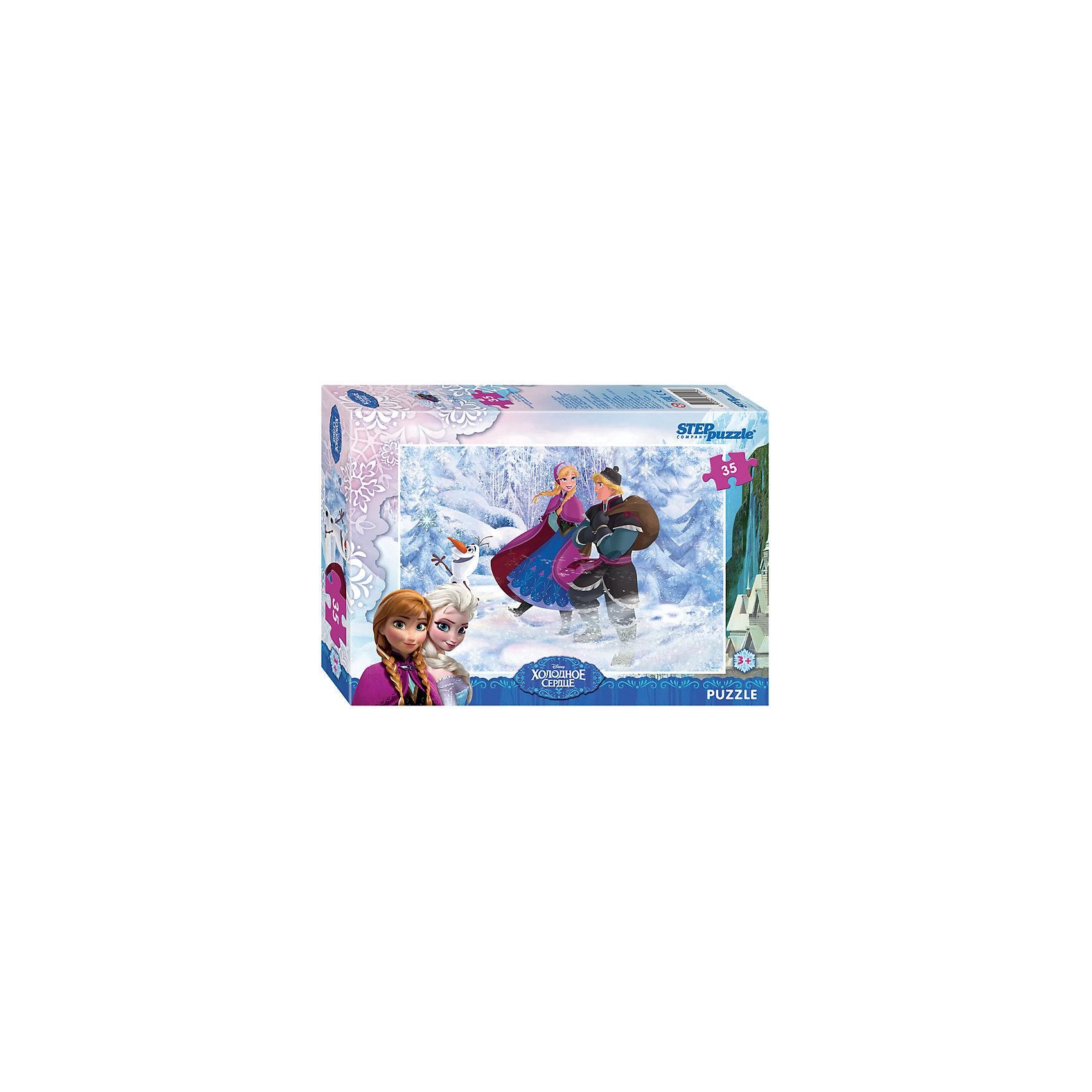 Пазл Холодное сердце, 35 деталей, Step PuzzleПазл Холодное сердце, 35 деталей, Step Puzzle (Степ Пазл) – это замечательный красочный пазл с изображением любимых героев.<br>Волшебный дар принцессы Эльзы погружает сказочное королевство Арендейл во власть вечной зимы. Снять ледяное проклятие может только ее родная сестра – принцесса Анна. Для этого она отправляется в горы, где скрывается Эльза. По пути Анна встречает отважного Кристоффера и его верного оленя Олафа. Вместе им предстоит пережить множество опасных приключений и невероятных встреч, чтобы спасти королевство. Подарите ребенку чудесный пазл Холодное сердце, и он будет увлеченно подбирать детали, пока не составит яркую и интересную картинку, на которой изображены любимые герои мультфильма. Сборка пазла Холодное сердце от Step Puzzle (Степ Пазл) подарит Вашему ребенку не только множество увлекательных вечеров, но и принесет пользу для развития. Координация, моторика, внимательность легко тренируются, пока ребенок увлеченно подбирает детали. Качественные фрагменты пазла отлично проклеены и идеально подходят один к другому, поэтому сборка пазла обеспечит малышу только положительные эмоции. Вы будете использовать этот пазл не один год, ведь благодаря качественной нарезке детали не расслаиваются даже после многократного использования.<br><br>Дополнительная информация:<br><br>- Количество деталей: 35<br>- Материал: картон<br>- Размер собранной картинки: 33х23 см.<br>- Отличная проклейка<br>- Долгий срок службы<br>- Детали идеально подходят друг другу<br>- Яркий сюжет<br>- Упаковка: картонная коробка<br>- Размер упаковки: 195x35x140 мм.<br>- Вес: 200 гр.<br><br>Пазл Холодное сердце, 35 деталей, Step Puzzle (Степ Пазл) можно купить в нашем интернет-магазине.<br><br>Ширина мм: 195<br>Глубина мм: 35<br>Высота мм: 140<br>Вес г: 200<br>Возраст от месяцев: 36<br>Возраст до месяцев: 84<br>Пол: Унисекс<br>Возраст: Детский<br>Количество деталей: 35<br>SKU: 4588292