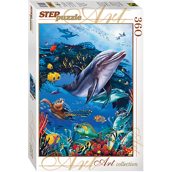 Пазл Подводный мир, 360 деталей, Step PuzzleПазлы классические<br>Пазл Подводный мир, 360 деталей, Step Puzzle (Степ Пазл) – это красочный пазл серии «Art collection».<br>Красочный Подводный мир от торговой марки Step Puzzle (Степ Пазл) станет прекрасным подарком, как для малышей, так и для взрослых. Все элементы изготовлены из прочного картона. Качественные фрагменты пазла отлично проклеены, не расслаиваются и идеально подходят один к другому, поэтому сборка пазла обеспечит только положительные эмоции. Собрав все детали, Вы получите яркую картинку с изображением милых обитателей подводного мира. Занятия с пазлом поспособствуют развитию множества полезных навыков, таких как мелкая моторика рук, пространственное мышление, память и наблюдательность.<br><br>Дополнительная информация:<br><br>- Количество деталей: 360<br>- Материал: картон<br>- Размер собранной картины: 34,5х50 см.<br>- Отличная проклейка<br>- Детали идеально подходят друг другу<br>- Упаковка: картонная коробка<br>- Размер упаковки: 335x40x215 мм.<br>- Вес: 400 гр.<br><br>Пазл Подводный мир, 360 деталей, Step Puzzle (Степ Пазл) можно купить в нашем интернет-магазине.<br>Ширина мм: 335; Глубина мм: 40; Высота мм: 215; Вес г: 400; Возраст от месяцев: 84; Возраст до месяцев: 192; Пол: Унисекс; Возраст: Детский; Количество деталей: 360; SKU: 4588296;
