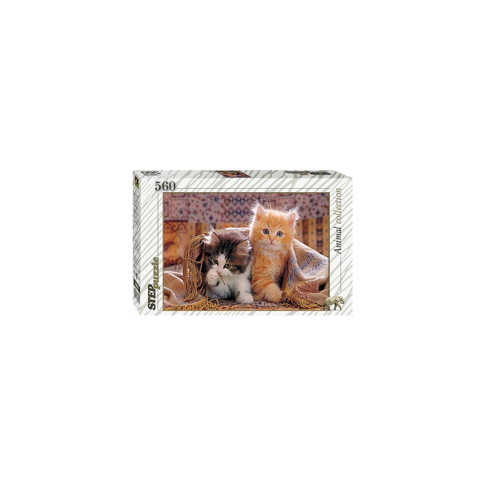 Пазл Котята, 560 деталей, Step PuzzleПазл Котята, 560 деталей, Step Puzzle (Степ Пазл) – это красочный пазл серии «Animal collection».<br>Пазл Котята от торговой марки Step Puzzle (Степ Пазл) станет прекрасным подарком, как для малышей, так и для взрослых. Все элементы изготовлены из прочного картона. Качественные фрагменты пазла отлично проклеены, не расслаиваются и идеально подходят один к другому, поэтому сборка пазла обеспечит только положительные эмоции. Собрав все детали, Вы получите яркую картинку с изображением двух смешных пушистых котят, которые забрались под плед, и выглядывают оттуда, а один из котят играет с бахромой. Занятия с пазлом поспособствуют развитию множества полезных навыков, таких как мелкая моторика рук, пространственное мышление, память и наблюдательность.<br><br>Дополнительная информация:<br><br>- Количество деталей: 560<br>- Материал: картон<br>- Размер собранной картины: 50х34,5 см.<br>- Отличная проклейка<br>- Детали идеально подходят друг другу<br>- Упаковка: картонная коробка<br>- Размер упаковки: 335x40x215 мм.<br>- Вес: 600 гр.<br><br>Пазл Котята, 560 деталей, Step Puzzle (Степ Пазл) можно купить в нашем интернет-магазине.<br><br>Ширина мм: 335<br>Глубина мм: 40<br>Высота мм: 215<br>Вес г: 600<br>Возраст от месяцев: 84<br>Возраст до месяцев: 192<br>Пол: Унисекс<br>Возраст: Детский<br>SKU: 4588299