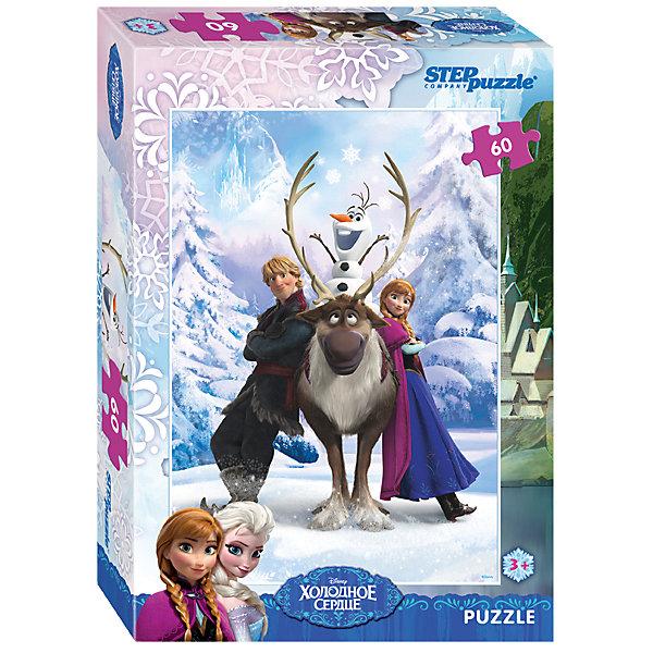 Пазл Холодное сердце, 60 деталей, Step PuzzleПазлы для малышей<br>Пазл Холодное сердце, 60 деталей, Step Puzzle (Степ Пазл) – это замечательный красочный пазл с изображением любимых героев.<br>Волшебный дар принцессы Эльзы погружает сказочное королевство Арендейл во власть вечной зимы. Снять ледяное проклятие может только ее родная сестра – принцесса Анна. Для этого она отправляется в горы, где скрывается Эльза. По пути Анна встречает отважного Кристоффера и его верного оленя Олафа. Вместе им предстоит пережить множество опасных приключений и невероятных встреч, чтобы спасти королевство. Подарите ребенку чудесный пазл Холодное сердце, и он будет увлеченно подбирать детали, пока не составит яркую и интересную картинку, на которой изображены Анны и ее друзья. Сборка пазла Холодное сердце от Step Puzzle (Степ Пазл) подарит Вашему ребенку не только множество увлекательных вечеров, но и принесет пользу для развития. Координация, моторика, внимательность легко тренируются, пока ребенок увлеченно подбирает детали. Качественные фрагменты пазла отлично проклеены и идеально подходят один к другому, поэтому сборка пазла обеспечит малышу только положительные эмоции. Вы будете использовать этот пазл не один год, ведь благодаря качественной нарезке детали не расслаиваются даже после многократного использования.<br><br>Дополнительная информация:<br><br>- Количество деталей: 60<br>- Материал: картон<br>- Размер собранной картинки: 23х33 см.<br>- Отличная проклейка<br>- Долгий срок службы<br>- Детали идеально подходят друг другу<br>- Яркий сюжет<br>- Упаковка: картонная коробка<br>- Размер упаковки: 195x35x140 мм.<br>- Вес: 400 гр.<br><br>Пазл Холодное сердце, 60 деталей, Step Puzzle (Степ Пазл) можно купить в нашем интернет-магазине.<br><br>Ширина мм: 195<br>Глубина мм: 35<br>Высота мм: 140<br>Вес г: 400<br>Возраст от месяцев: 36<br>Возраст до месяцев: 84<br>Пол: Унисекс<br>Возраст: Детский<br>Количество деталей: 60<br>SKU: 4588302