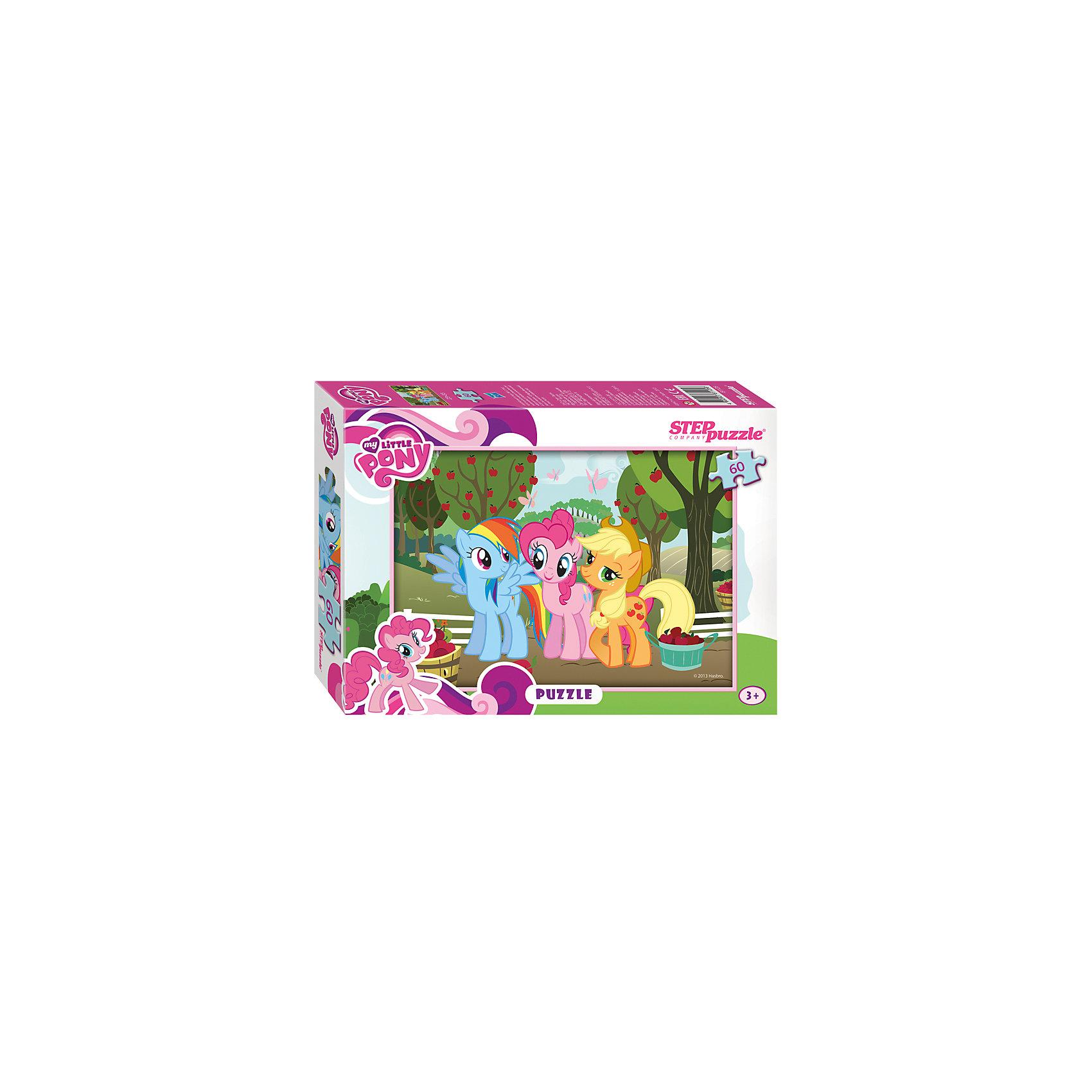 Пазл My little Pony, 60 деталей, Step PuzzleПазл My little Pony, 60 деталей, Step Puzzle (Степ Пазл) – это замечательный красочный пазл с изображением любимых героев.<br>Знаменитые маленькие пони приглашают в свой волшебный мир. Подарите ребенку чудесный пазл My little Pony, и он будет увлеченно подбирать детали, пока не составит яркую и интересную картинку, на которой героини мультфильма Пинки Пай и Рэйнбоу Дэш пришли в гости на яблочную ферму, где их встретила хозяйка фермы Эплджек. Сборка пазла My little Pony от Step Puzzle (Степ Пазл) подарит Вашему ребенку не только множество увлекательных вечеров, но и принесет пользу для развития. Координация, моторика, внимательность легко тренируются, пока ребенок увлеченно подбирает детали. Качественные фрагменты пазла отлично проклеены и идеально подходят один к другому, поэтому сборка пазла обеспечит малышу только положительные эмоции. Вы будете использовать этот пазл не один год, ведь благодаря качественной нарезке детали не расслаиваются даже после многократного использования.<br><br>Дополнительная информация:<br><br>- Количество деталей: 60<br>- Материал: картон<br>- Размер собранной картинки: 33х23 см.<br>- Отличная проклейка<br>- Долгий срок службы<br>- Детали идеально подходят друг другу<br>- Яркий сюжет<br>- Упаковка: картонная коробка<br>- Размер упаковки: 195x35x140 мм.<br>- Вес: 400 гр.<br><br>Пазл My little Pony, 60 деталей, Step Puzzle (Степ Пазл) можно купить в нашем интернет-магазине.<br><br>Ширина мм: 195<br>Глубина мм: 35<br>Высота мм: 140<br>Вес г: 400<br>Возраст от месяцев: 36<br>Возраст до месяцев: 84<br>Пол: Унисекс<br>Возраст: Детский<br>SKU: 4588305