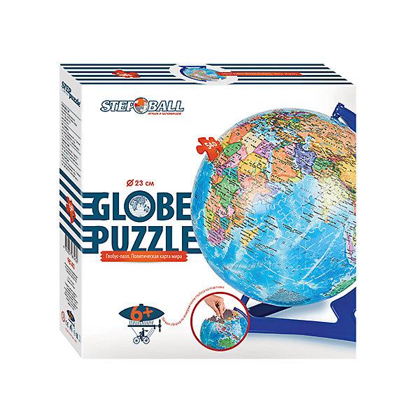 Глобус-пазл Политическая карта мира, 540 деталей, Step Puzzle3D пазлы<br>Характеристики товара:<br><br>• возраст: от 6 лет;<br>• материал: пластик;<br>• в комплекте: 540 элементов, подставка;<br>• диаметр шара: 23 см;<br>• размер упаковки: 27,5х27,5х7,5 см;<br>• вес упаковки: 850 гр.;<br>• страна производитель: Россия.<br><br>Пазл-шар «Политическая карта мира» Step Puzzle — оригинальный пазл, элементы которого имеют изогнутую форму и собираются вместе, образуя шар. Собрав его, получается самый настоящий глобус, который может служить отличным дополнением при изучении географии в школе.<br><br>В процессе сборки пазла развиваются мелкая моторика рук, усидчивость, внимательность, логическое мышление. Все детали выполнены из качественного прочного пластика и надежно скрепляются между собой.<br><br>Пазл-шар «Политическая карта мира» Step Puzzle можно приобрести в нашем интернет-магазине.<br><br>Ширина мм: 275<br>Глубина мм: 75<br>Высота мм: 275<br>Вес г: 600<br>Возраст от месяцев: 72<br>Возраст до месяцев: 2147483647<br>Пол: Унисекс<br>Возраст: Детский<br>Количество деталей: 540<br>SKU: 4588309