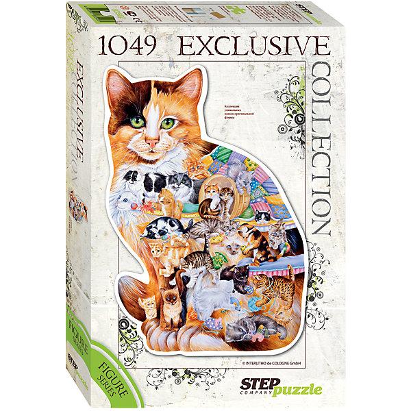 Пазл Кошка, 1049 деталей, Step PuzzleПазлы классические<br>Пазл Кошка, 1049 деталей, Step Puzzle (Степ Пазл) – это красочный пазл в форме кошки.<br>Кошка и человек вместе вот уже 10000 лет. За это время было выведено более 200 парод. Сегодня в мире насчитывается около 600 млн. домашних кошек. Собрав этот пазл, Вы получите уникальное фигурное изображение пушистой домашней любимицы. Фигурный пазл – это оригинальный дизайн, улучшенное качество, высокая точность в подгонке деталей. В комплект с пазлом входит специальный клей. Занятия с пазлом поспособствуют развитию множества полезных навыков, таких как мелкая моторика рук, пространственное мышление, память и наблюдательность.<br><br>Дополнительная информация:<br><br>- В комплекте: детали пазла, клей<br>- Количество деталей: 1049<br>- Материал: картон<br>- Размер собранной картины: 572х805 мм.<br>- Отличная проклейка<br>- Детали идеально подходят друг другу<br>- Упаковка: картонная коробка<br>- Размер упаковки: 400x55x270 мм.<br>- Вес: 600 гр.<br><br>Пазл Кошка, 1049 деталей, Step Puzzle (Степ Пазл) можно купить в нашем интернет-магазине.<br>Ширина мм: 400; Глубина мм: 55; Высота мм: 270; Вес г: 600; Возраст от месяцев: 84; Возраст до месяцев: 192; Пол: Унисекс; Возраст: Детский; SKU: 4588310;