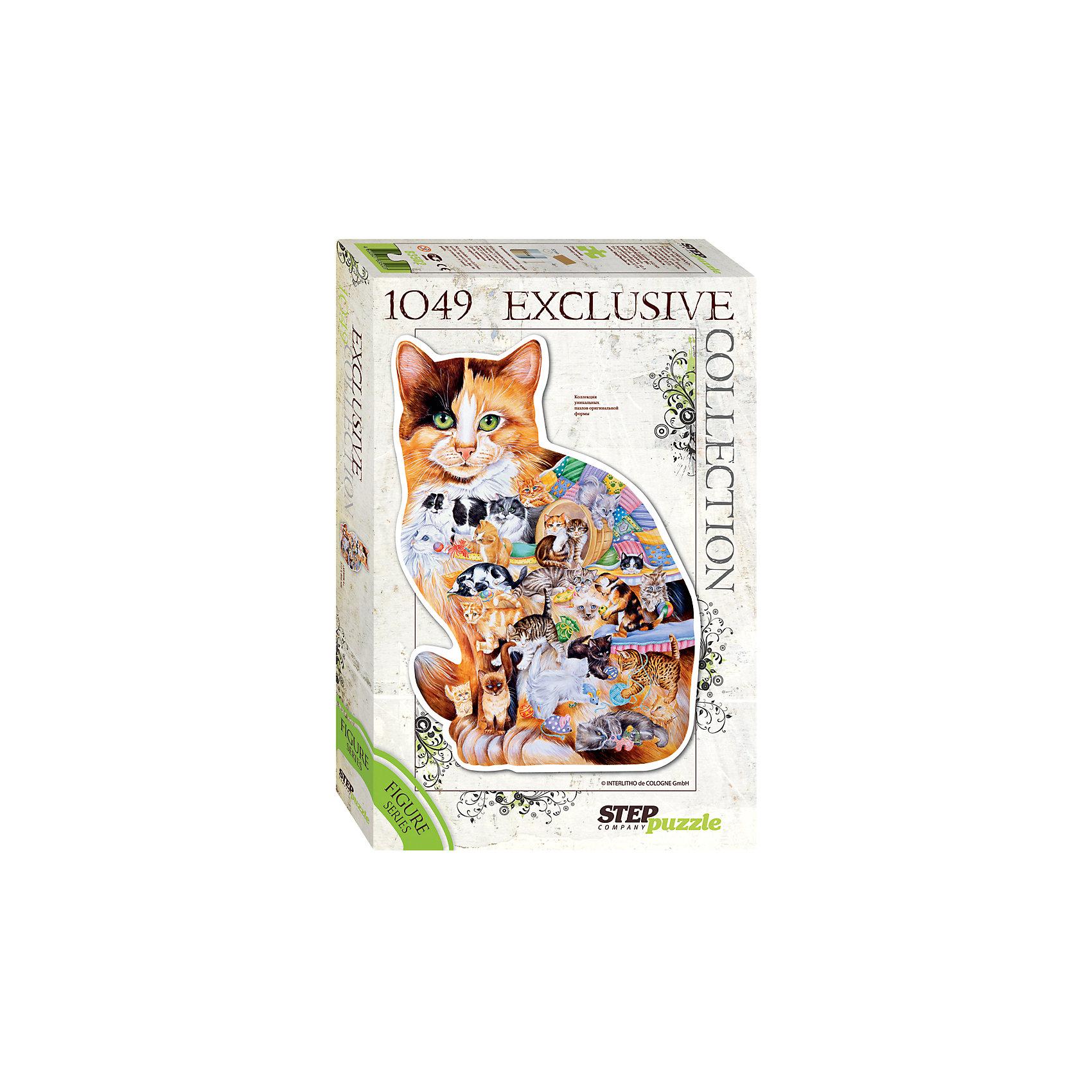 Пазл Кошка, 1049 деталей, Step PuzzleКлассические пазлы<br>Пазл Кошка, 1049 деталей, Step Puzzle (Степ Пазл) – это красочный пазл в форме кошки.<br>Кошка и человек вместе вот уже 10000 лет. За это время было выведено более 200 парод. Сегодня в мире насчитывается около 600 млн. домашних кошек. Собрав этот пазл, Вы получите уникальное фигурное изображение пушистой домашней любимицы. Фигурный пазл – это оригинальный дизайн, улучшенное качество, высокая точность в подгонке деталей. В комплект с пазлом входит специальный клей. Занятия с пазлом поспособствуют развитию множества полезных навыков, таких как мелкая моторика рук, пространственное мышление, память и наблюдательность.<br><br>Дополнительная информация:<br><br>- В комплекте: детали пазла, клей<br>- Количество деталей: 1049<br>- Материал: картон<br>- Размер собранной картины: 572х805 мм.<br>- Отличная проклейка<br>- Детали идеально подходят друг другу<br>- Упаковка: картонная коробка<br>- Размер упаковки: 400x55x270 мм.<br>- Вес: 600 гр.<br><br>Пазл Кошка, 1049 деталей, Step Puzzle (Степ Пазл) можно купить в нашем интернет-магазине.<br><br>Ширина мм: 400<br>Глубина мм: 55<br>Высота мм: 270<br>Вес г: 600<br>Возраст от месяцев: 84<br>Возраст до месяцев: 192<br>Пол: Унисекс<br>Возраст: Детский<br>SKU: 4588310