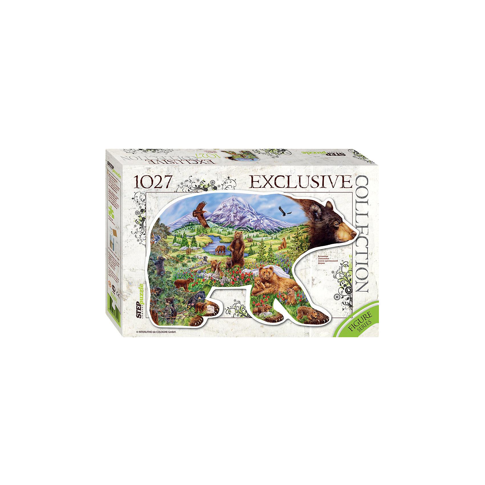 Пазл Медведь, 1027 деталей, Step PuzzleПазлы для детей постарше<br>Пазл Медведь, 1027 деталей, Step Puzzle (Степ Пазл) – это красочный пазл в форме медведя.<br>Давным-давно этого лесного зверя почитали и боялись. Его обожествляли, его считали хозяином лесов и конкурентом охотников. Даже имя его не произносил вслух. Собрав этот пазл, вы получите уникальное фигурное изображение хозяина лесов – Медведя. Фигурный пазл – это оригинальный дизайн, улучшенное качество, высокая точность в подгонке деталей. В комплект с пазлом входит специальный клей. Занятия с пазлом поспособствуют развитию множества полезных навыков, таких как мелкая моторика рук, пространственное мышление, память и наблюдательность.<br><br>Дополнительная информация:<br><br>- В комплекте: детали пазла, клей<br>- Количество деталей: 1027<br>- Материал: картон<br>- Размер собранной картины: 540х835 мм.<br>- Отличная проклейка<br>- Детали идеально подходят друг другу<br>- Упаковка: картонная коробка<br>- Размер упаковки: 400x55x270 мм.<br>- Вес: 600 гр.<br><br>Пазл Медведь, 1027 деталей, Step Puzzle (Степ Пазл) можно купить в нашем интернет-магазине.<br><br>Ширина мм: 400<br>Глубина мм: 55<br>Высота мм: 270<br>Вес г: 600<br>Возраст от месяцев: 84<br>Возраст до месяцев: 192<br>Пол: Унисекс<br>Возраст: Детский<br>SKU: 4588311