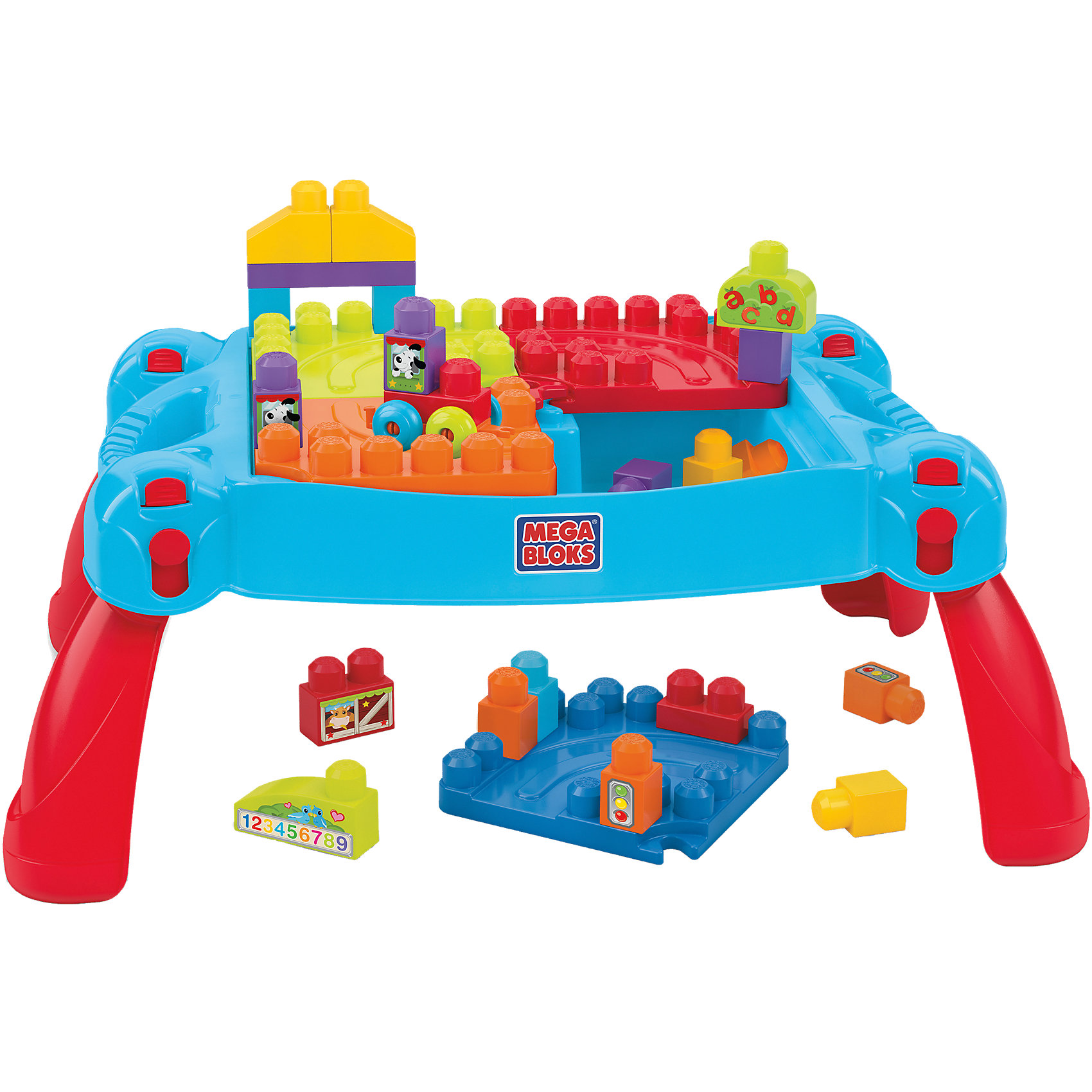 Стол для конструирования Мой первый конструктор, MEGA BLOKSСтол для конструирования Мой первый конструктор, MEGA BLOKS (Мега Блокс)<br><br>Характеристики:<br><br>• на этом столе ребенку будет удобно играть с конструктором Mega Blocks<br>• стол трансформируется в чемоданчик<br>• все детали безопасны для ребенка<br>• количество деталей: 30<br>• материал: пластик<br>• в комплекте: столик, детали конструктора<br>• размер упаковки: 40,5х61х13 см<br><br>Набор Мой первый конструктор состоит из складного столика и деталей конструктора Mega Blocks. Все детали крупного размера, поэтому они подойдут даже для малышей. Столик имеет удобную форму, позволяющую уютно расположиться во время игры. После окончания игры вы можете убрать столешницу и превратить столик в чемоданчик для хранения конструктора. Все детали изготовлены из качественного пластика и окрашены нетоксичной краской. Наклейки с изображением животных, знаков и цифр помогут расширить кругозор ребенка. Играя на этом столике, ребенок освоит навыки конструирования, что поспособствует развитию воображения и моторики рук.<br><br>Стол для конструирования Мой первый конструктор, MEGA BLOKS (Мега Блокс) можно купить в нашем интернет-магазине.<br><br>Ширина мм: 616<br>Глубина мм: 408<br>Высота мм: 144<br>Вес г: 2911<br>Возраст от месяцев: 12<br>Возраст до месяцев: 48<br>Пол: Мужской<br>Возраст: Детский<br>SKU: 4588321