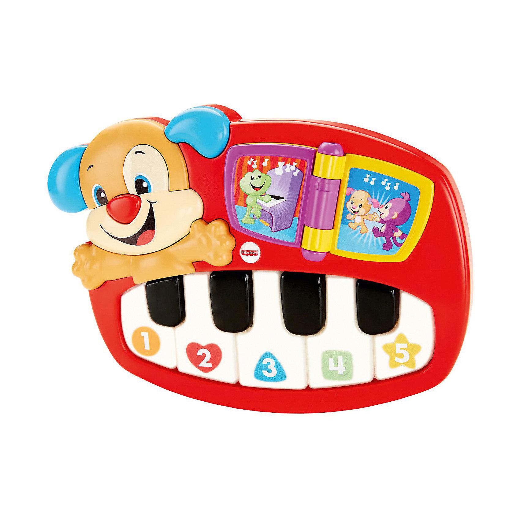 Пианино-щенок, Fisher-priceДетские музыкальные инструменты<br>Пианино-щенок, Fisher-price (Фишер-прайс) – эта развивающая игрушка обязательно понравится вашему малышу и не позволит ему скучать!<br>Веселый щенок и его пианино с музыкальными и световыми эффектами помогут малышу учиться с радостью! У пианино 2 режима игры: учебный и музыкальный. Благодаря им, малыш узнает о разных цветах, числах, формах, выучит буквы, первые слова, а также поиграет на пианино! Малыш легко создаст свою собственную мелодию, нажимая, на пять подсвечиваемых клавиш пианино, а дружелюбный щенок и интерактивная книжечка, которую можно листать, сделают игру еще интереснее. Игрушка развивает речь, цветовое и звуковое восприятие, логическое мышление, причинно-следственные связи, воображение, тактильные ощущения и мелкую моторику рук.<br><br>Дополнительная информация:<br><br>- 30 песенок, фраз и мелодий<br>- На батарейках<br>- Материал: пластик<br>- Размер упаковки: 60 х 265 х 250 мм.<br>- Вес: 772 гр.<br><br>Пианино-щенок, Fisher-price (Фишер-прайс) можно купить в нашем интернет-магазине.<br><br>Ширина мм: 60<br>Глубина мм: 265<br>Высота мм: 250<br>Вес г: 772<br>Возраст от месяцев: 24<br>Возраст до месяцев: 60<br>Пол: Унисекс<br>Возраст: Детский<br>SKU: 4588324