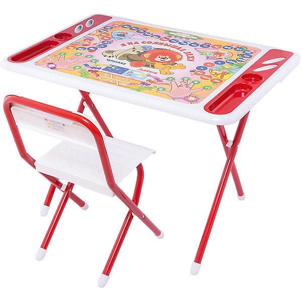 Набор мебели Львенок и черепаха, Дэми, бело-красныйДетские столы и стулья<br>Набор мебели Львенок и черепаха – это полностью оборудованное место для творчества и занятий вашего малыша.<br>Набор складной детской мебели Львенок и черепаха предназначен для детей от 3 до 7 лет. Ее легко развернуть и так же легко убрать. Чтобы свернуть рабочее место, нужно всего лишь сложить ножки стола и стула – и поместить набор вдоль стены, в шкаф или за мебель. Рабочая поверхность стола, сиденье и спинка стула сделаны из прочной пластмассы, имеют закругленные края и защитные бортики. Устойчивые металлические ножки имеют пластмассовые заглушки. Мебель спроектирована при участии врачей-ортопедов, поэтому занятия для ребенка проходят с комфортом. Он держит спину ровно и правильно распределяет нагрузку на позвоночник благодаря слегка отклоненной спинке стула. Расстояние от глаз до учебных материалов на столе также является оптимальным. На столешнице красуются не только главные герои мультфильма «Как Львенок и Черепаха пели песню», но и веселые развивающие шпаргалки! Ребенок изучит алфавит и цифры, познакомится с явлениями окружающего мира. По краям столешницы расположены органайзеры для канцелярских принадлежностей, а также пазы-держатели для стаканчиков. Два стаканчика для рисования также в комплекте. Набор мебели обеспечит вашему ребенку занятия учебой и творчеством в наиболее удобной обстановке.<br><br>Дополнительная информация:<br><br>- В комплекте: стол, стул, 2 стаканчика, руководство по эксплуатации<br>- Комплект предназначен для детей ростом 130-145 см.<br>- Максимальная нагрузка на стул: 30 кг.<br>- Материал: пластик, металл<br>- Цвет: белый, красный<br>- Размер столешницы: 800х550 мм.<br>- Высота стола от пола: 580 мм.<br>- Размер сиденья стула: 340х360 мм.<br>- Высота сиденья от пола: 345 мм.<br>- Размер органайзера: 200х55 мм.<br>- Упаковка: картонная коробка<br>- Размер упаковки: 800х740х150 мм.<br>- Вес в упаковке: 10,4 кг.<br><br>Набор мебели Львенок и черепаха можно купит