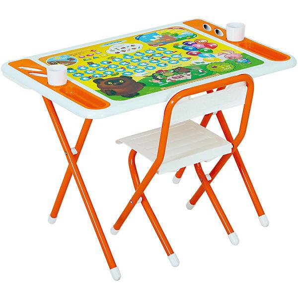Набор мебели Винни-Пух, Дэми, бело-оранжевыйДетские столы и стулья<br>Набор мебели Винни-Пух – это полностью оборудованное место для творчества и занятий вашего малыша.<br>Набор складной детской мебели Винни-Пух предназначен для детей от 3 до 7 лет. Ее легко развернуть и так же легко убрать. Чтобы свернуть рабочее место, нужно всего лишь сложить ножки стола и стула – и поместить набор вдоль стены, в шкаф или за мебель. Рабочая поверхность стола, сиденье и спинка стула сделаны из прочной пластмассы, имеют закругленные края и защитные бортики. Устойчивые металлические ножки имеют пластмассовые заглушки. Мебель спроектирована при участии врачей-ортопедов, поэтому занятия для ребенка проходят с комфортом. Он держит спину ровно и правильно распределяет нагрузку на позвоночник благодаря слегка отклоненной спинке стула. Расстояние от глаз до учебных материалов на столе также является оптимальным. На столешнице красуются не только главные герои мультфильма «Винни Пух» студии Союзмультфильм, но и веселые развивающие шпаргалки! Ребенок изучит алфавит и цифры от 0 до 9, познакомится с геометрическими фигурами, временами года и суток. По краям столешницы расположены органайзеры для канцелярских принадлежностей, а также пазы-держатели для стаканчиков. Два стаканчика для рисования также в комплекте. Набор мебели обеспечит вашему ребенку занятия учебой и творчеством в наиболее удобной обстановке.<br><br>Дополнительная информация:<br><br>- В комплекте: стол, стул, руководство по эксплуатации<br>- Комплект предназначен для детей ростом 130-145 см.<br>- Максимальная нагрузка на стул: 30 кг.<br>- Материал: пластик, металл<br>- Цвет: белый, оранжевый<br>- Размер столешницы: 800х550 мм.<br>- Высота стола от пола: 580 мм.<br>- Размер сиденья стула: 340х360 мм.<br>- Высота сиденья от пола: 345 мм.<br>- Размер органайзера: 200х55 мм.<br>- Упаковка: картонная коробка<br>- Размер упаковки: 800х740х150 мм.<br>- Вес в упаковке: 10,4 кг.<br><br>Набор мебели Винни-Пух можно купить в нашем интерн