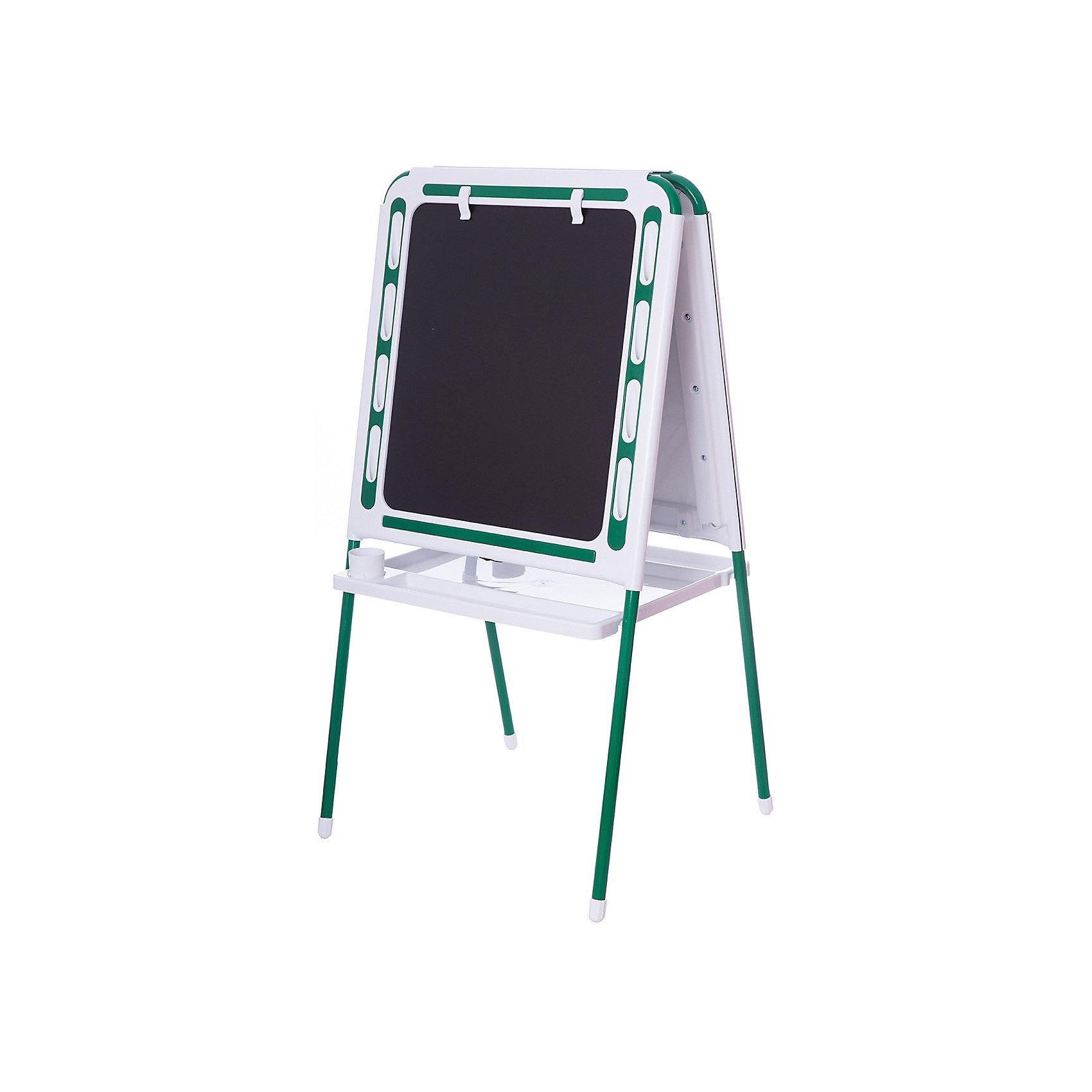 Зеленый мольбертЗеленый мольберт – это мольберт с двумя рабочими поверхностями, предназначенный для детского творчества и развития.<br>Современный, функциональный и очень удобный мольберт - это универсальный уголок для рисования и обучения у вас дома. Двойная доска устанавливается «домиком» прямо на пол и не требует дополнительных креплений. На металлических ножках – пластмассовые заглушки. Мольберт спроектирован особым образом: он может  использоваться двумя детьми одновременно. С обеих сторон мольберта есть удобные зажимы для бумаги. В комплект входят два стаканчика для рисования, большая полка для альбомов и красок. Мольберт подходит для работы красками, мелом, карандашами и маркерами. Юный художник по достоинству оценит удобные пазы-подставки для канцелярских принадлежностей, расположенные прямо на рамке мольберта, слева и справа от его рабочей поверхности. Углы мольберта скруглены для снижения травматичности ребенка.<br><br>Дополнительная информация:<br><br>- В комплекте: мольберт, два стаканчика для рисования, полка<br>- Цвет: белый, зеленый<br>- Материал: пластик, металл<br>- Размер: 100,5х48 см.<br>- Размер упаковки: 112х55х70 см.<br>- Вес: 14,2 кг.<br><br>Зеленый мольберт можно купить в нашем интернет-магазине.<br><br>Ширина мм: 1220<br>Глубина мм: 650<br>Высота мм: 110<br>Вес г: 14200<br>Возраст от месяцев: -2147483648<br>Возраст до месяцев: 2147483647<br>Пол: Унисекс<br>Возраст: Детский<br>SKU: 4589685