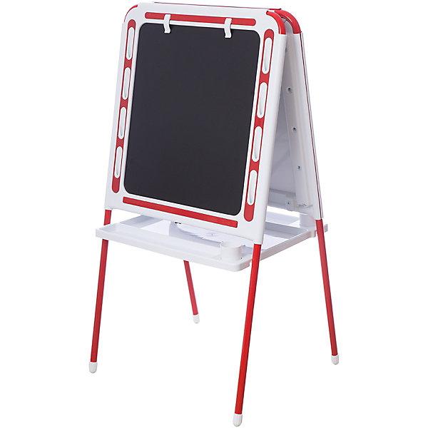 Красный мольбертДетские мольберты<br>Красный мольберт – это мольберт с двумя рабочими поверхностями, предназначенный для детского творчества и развития.<br>Современный, функциональный и очень удобный мольберт - это универсальный уголок для рисования и обучения у вас дома. Двойная доска устанавливается «домиком» прямо на пол и не требует дополнительных креплений. На металлических ножках – пластмассовые заглушки. Мольберт спроектирован особым образом: он может  использоваться двумя детьми одновременно. С обеих сторон мольберта есть удобные зажимы для бумаги. В комплект входят два стаканчика для рисования, большая полка для альбомов и красок. Мольберт подходит для работы красками, мелом, карандашами и маркерами. Юный художник по достоинству оценит удобные пазы-подставки для канцелярских принадлежностей, расположенные прямо на рамке мольберта, слева и справа от его рабочей поверхности. Углы мольберта скруглены для снижения травматичности ребенка.<br><br>Дополнительная информация:<br><br>- В комплекте: мольберт, два стаканчика для рисования, полка<br>- Цвет: белый, красный<br>- Материал: пластик, металл<br>- Размер: 100,5х48 см.<br>- Размер упаковки: 112х55х70 см.<br>- Вес: 14,2 кг.<br><br>Красный мольберт можно купить в нашем интернет-магазине.<br>Ширина мм: 1220; Глубина мм: 650; Высота мм: 110; Вес г: 14200; Возраст от месяцев: -2147483648; Возраст до месяцев: 2147483647; Пол: Унисекс; Возраст: Детский; SKU: 4589686;